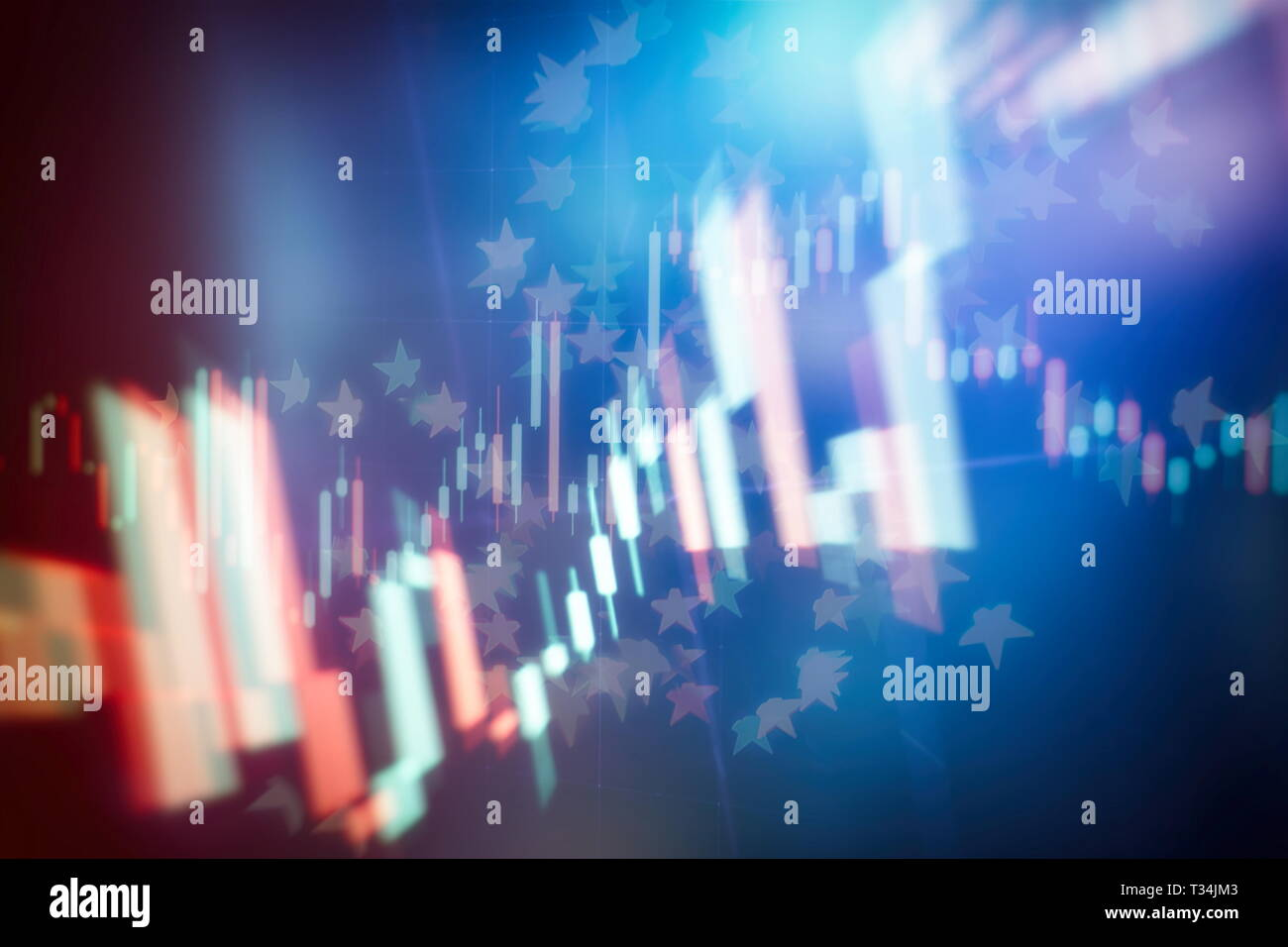 Abstract glowing forex chart interface wallpaper. Investment, trade, stock, finance and analysis concept. - Stock Image