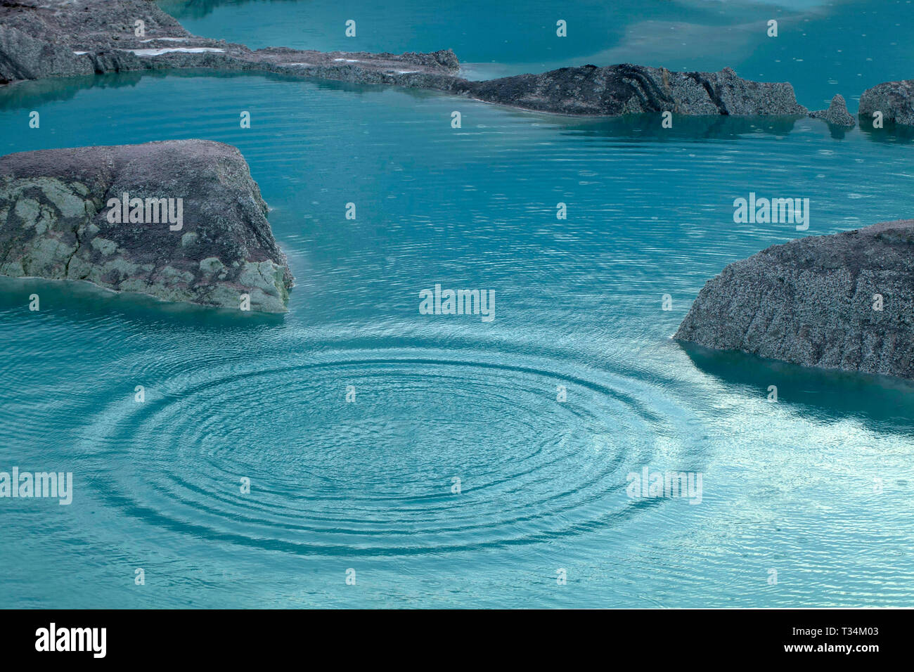 Concentric ripples in a lake, India - Stock Image