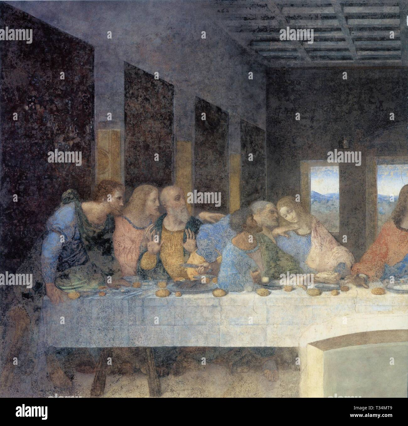.LEONARDO DA VINCI.THE LAST SUPPER.DETAIL.1495-1498.OIL AND TEMPERA ON PLASTER.460CM X 880 CM. - Stock Image