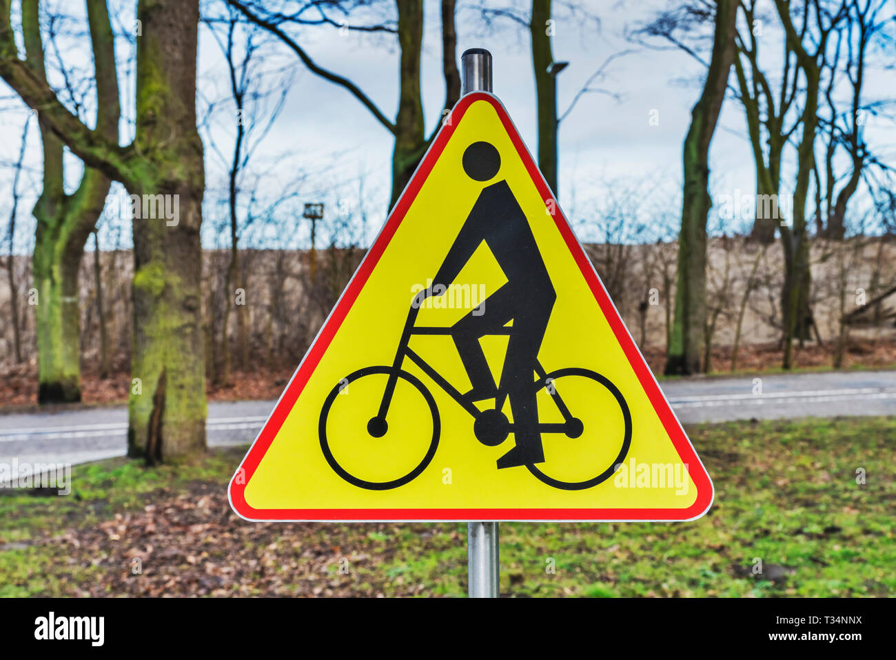 Detail view of a sign Attention cyclists - Stock Image