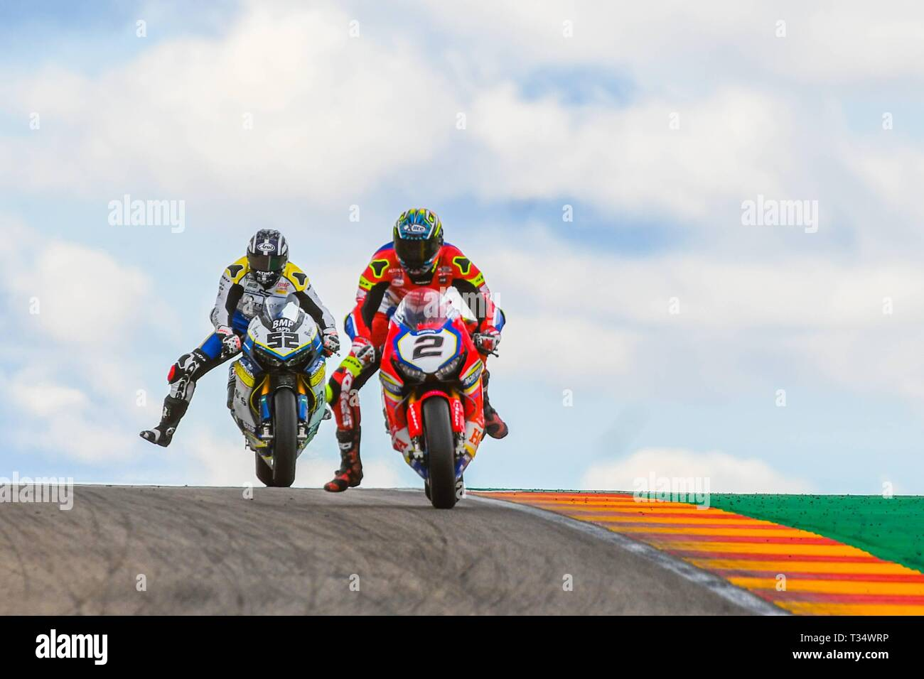 Alcañiz, Spain. 6th April, 2019. Leon Camier (2) of Great Britain and Moriwaki Althea HONDA Team and Alessandro Delbianco (52) of Italy and Althea Mie Racing Team during the WorldSBK Superpole Race of the Aragon Grand Prix at Motorland racetrack in Alcañiz, Spain.  on April  06, 2019 (Photo: Alvaro Sanchez)  Cordon Press Credit: CORDON PRESS/Alamy Live News Stock Photo