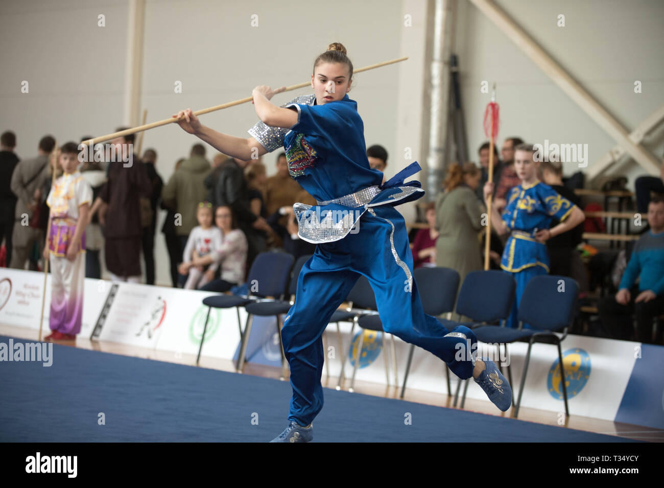 Vilniu, Lithuania  6th Apr, 2019  An athlete performs at the