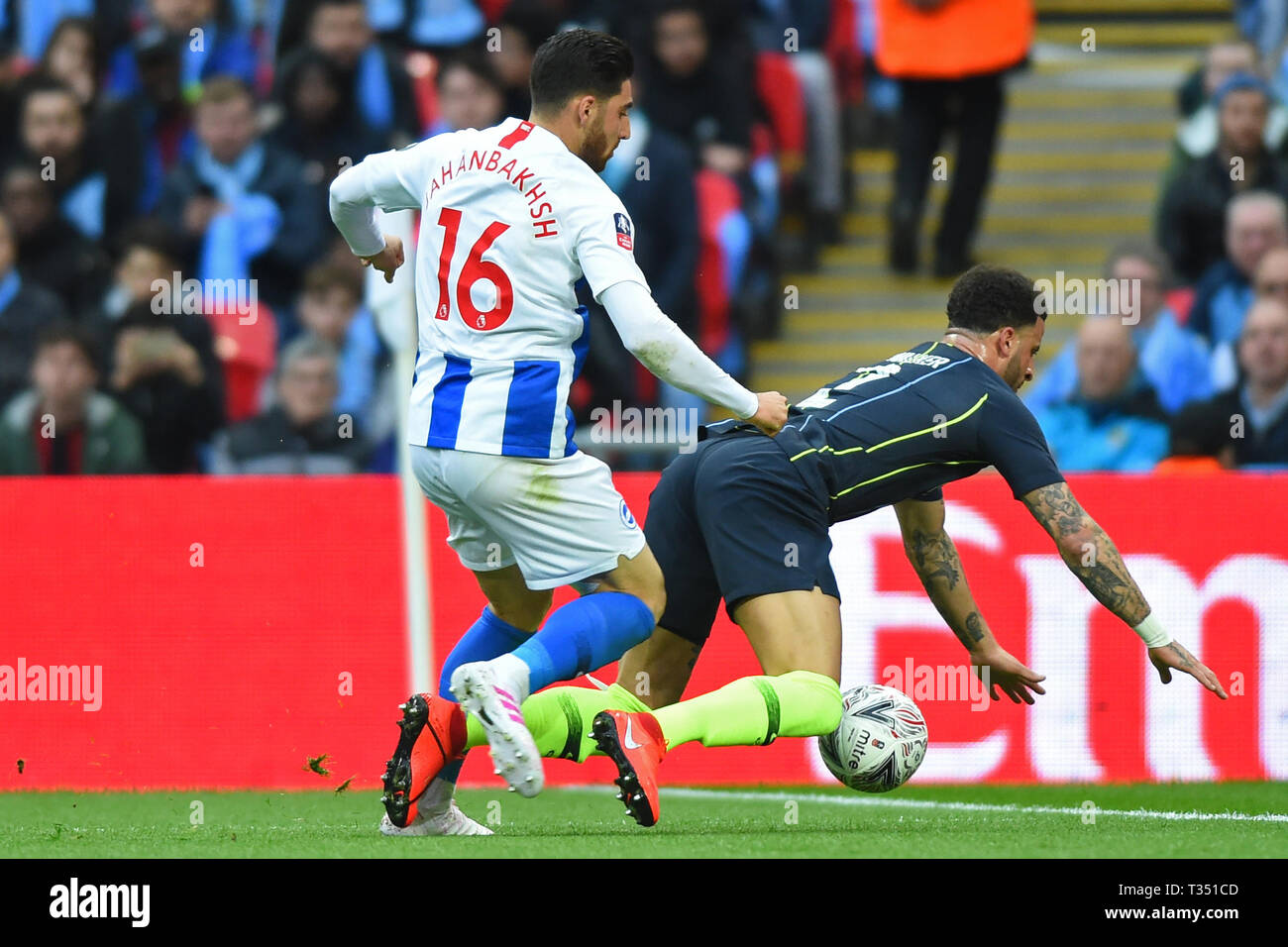 London, UK. 6th Apr, 2019. the push by Brighton forward Alireza Jahanbakhsh that leads to two yellow cards during the FA Cup Semi Final between Brighton and Hove Albion and Manchester City at Wembley Stadium, London on Saturday 6th April 2019. (Credit: Jon Bromley | MI News) Editorial use only, license required for commercial use. No use in betting, games or a single club/league/player publications. Photograph may only be used for newspaper and/or magazine editorial purposes. Credit: MI News & Sport /Alamy Live News Stock Photo