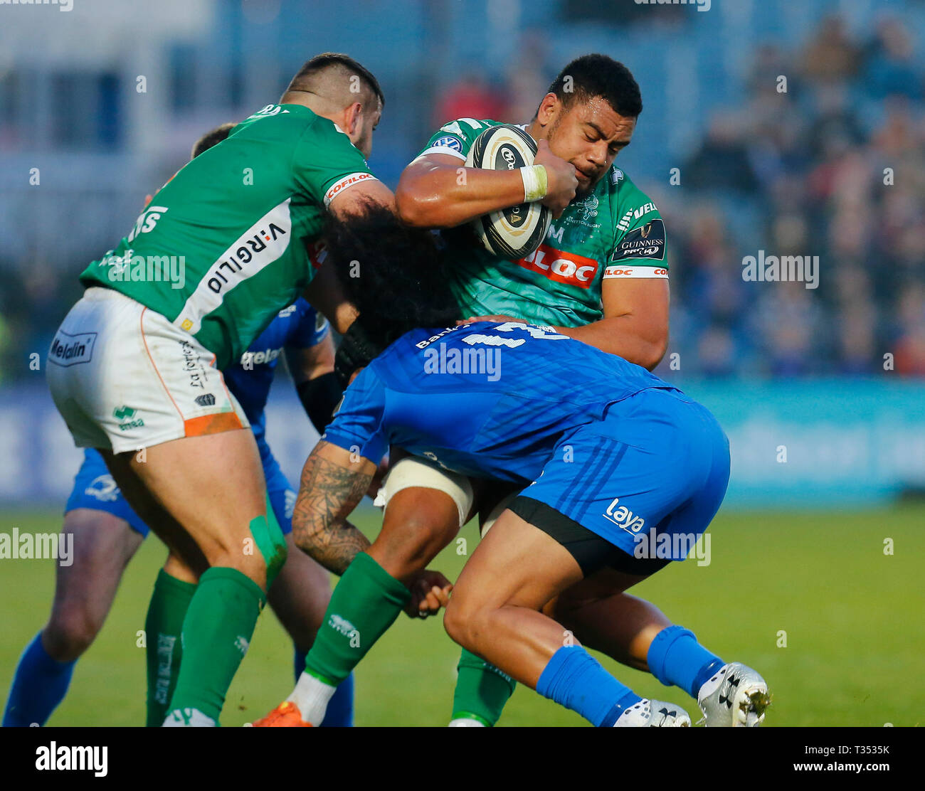 RDS Arena, Dublin, Ireland. 6th Apr, 2019. Guinness Pro14 rugby, Leinster versus Benetton; Toa Halafihi of Benetton is tackled by Joe Tomane of Leinster Credit: Action Plus Sports/Alamy Live News - Stock Image