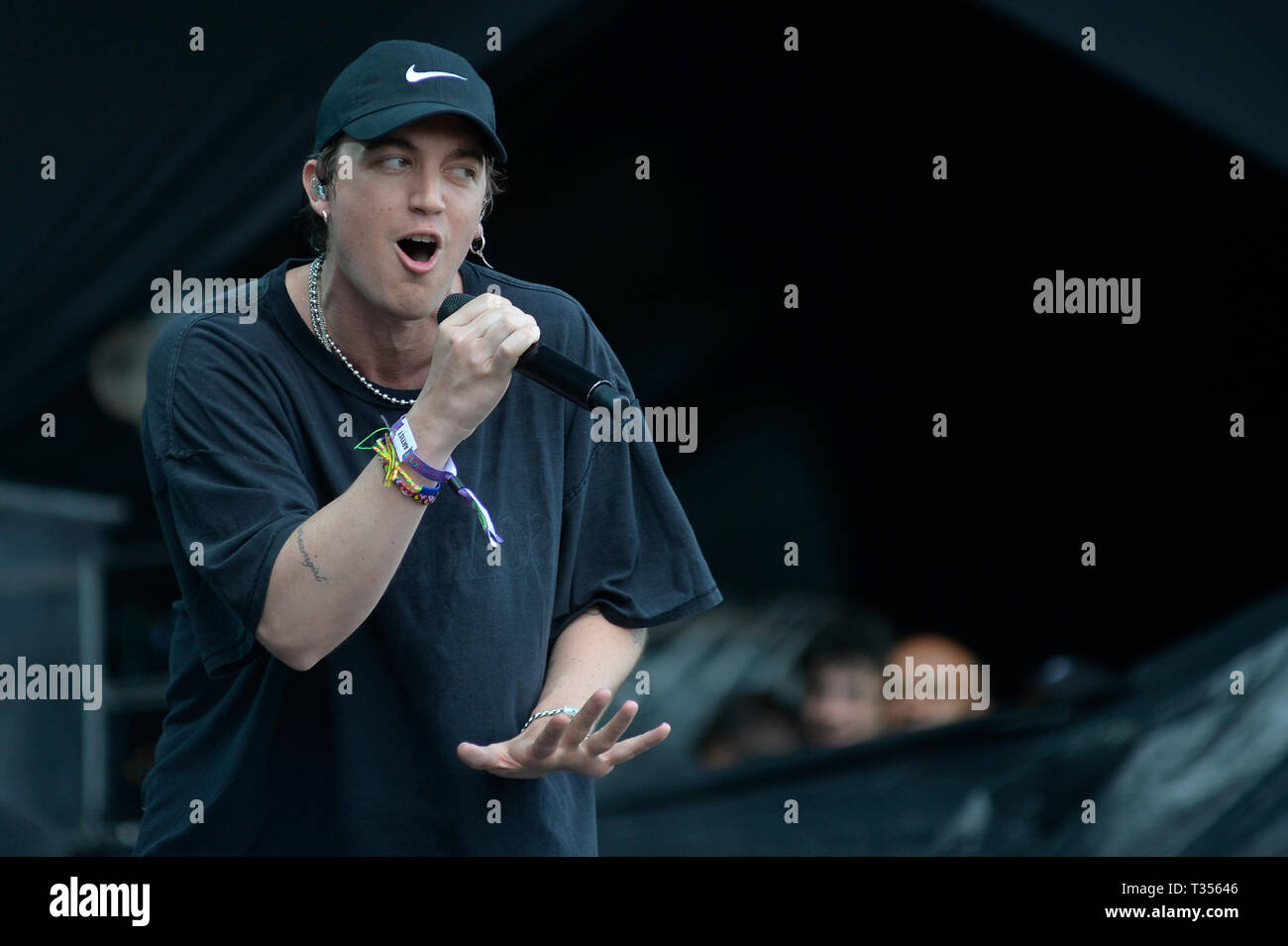 Sao Paulo, Brazil. 06th Apr, 2019. Lany performs at the Lollapalooza 2019 festival, held at the Autodromo de Interlagos in São Paulo on Saturday, 06. (PHOTO: LEVI BIANCO/BRAZIL PHOTO PRESS) Credit: Brazil Photo Press/Alamy Live News - Stock Image