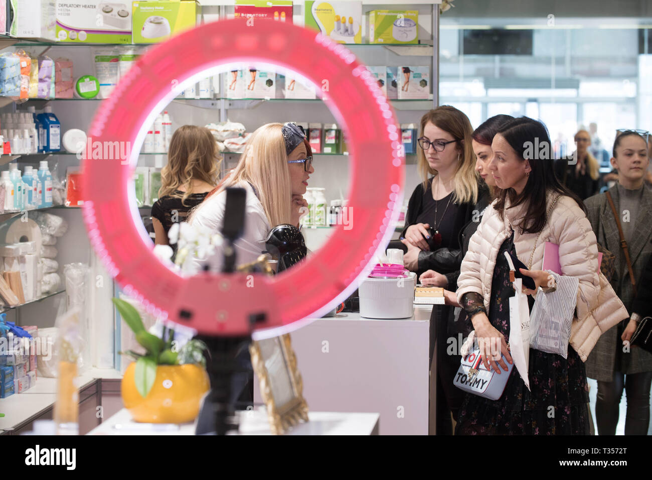 Vilnius, Lithuania  6th Apr, 2019  Visitors choose products during