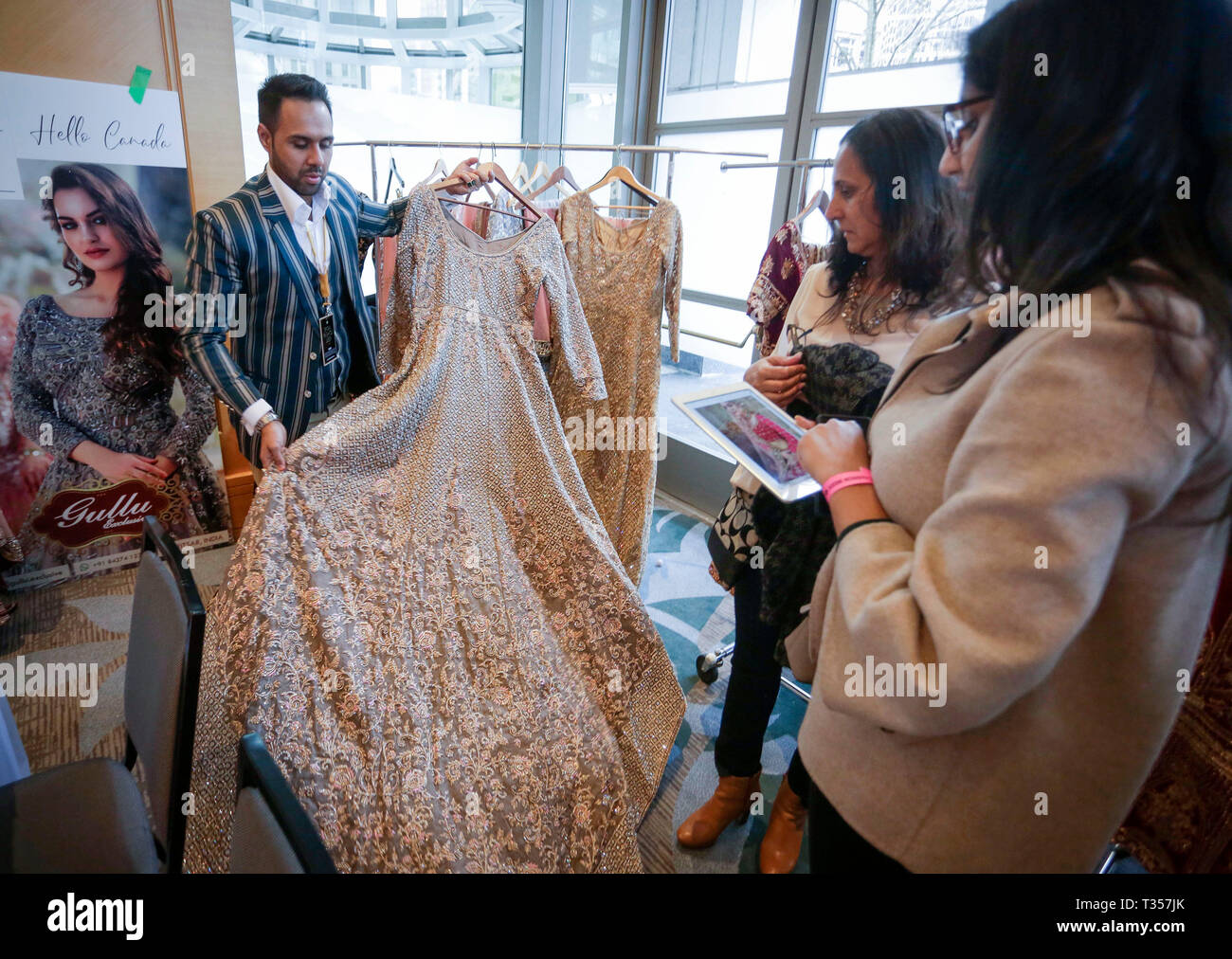 Vancouver Canada 6th Apr 2019 People Look At An Indian Style Wedding Dress During The 4th Bridal Fashion Week In Vancouver Canada April 6 2019 The Annual Bridal Fashion Week Is A