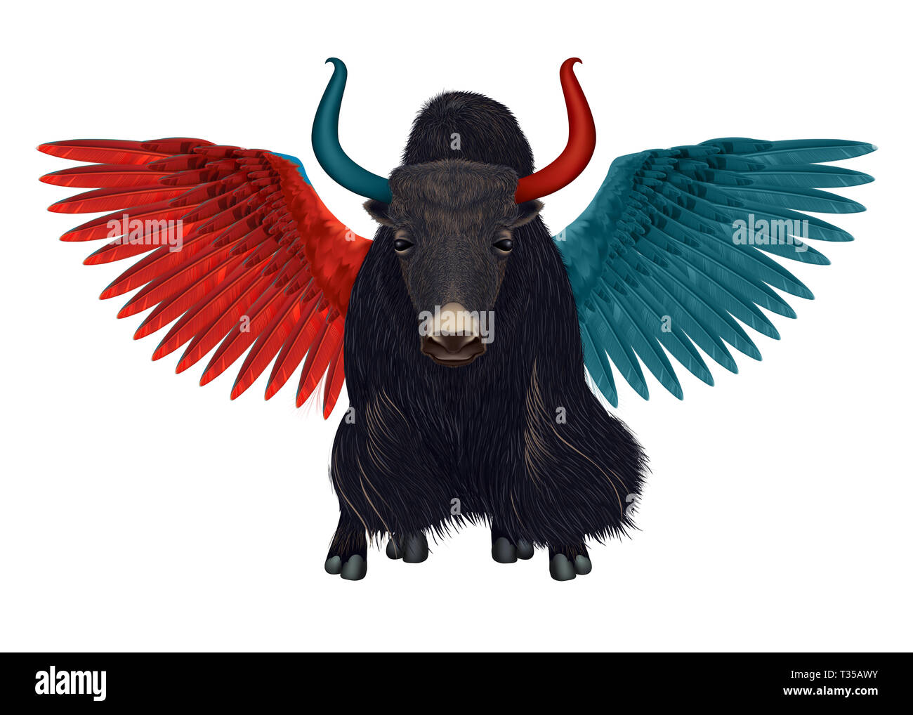 Keepyour feet on the ground andopen wings in the air - Dual Personality – Surreal Hybrid of Yak and Macaw – Metaphor of  Good and Evil concept - Stock Image