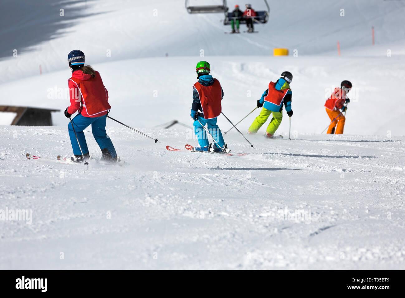 children in the ski school - Stock Image