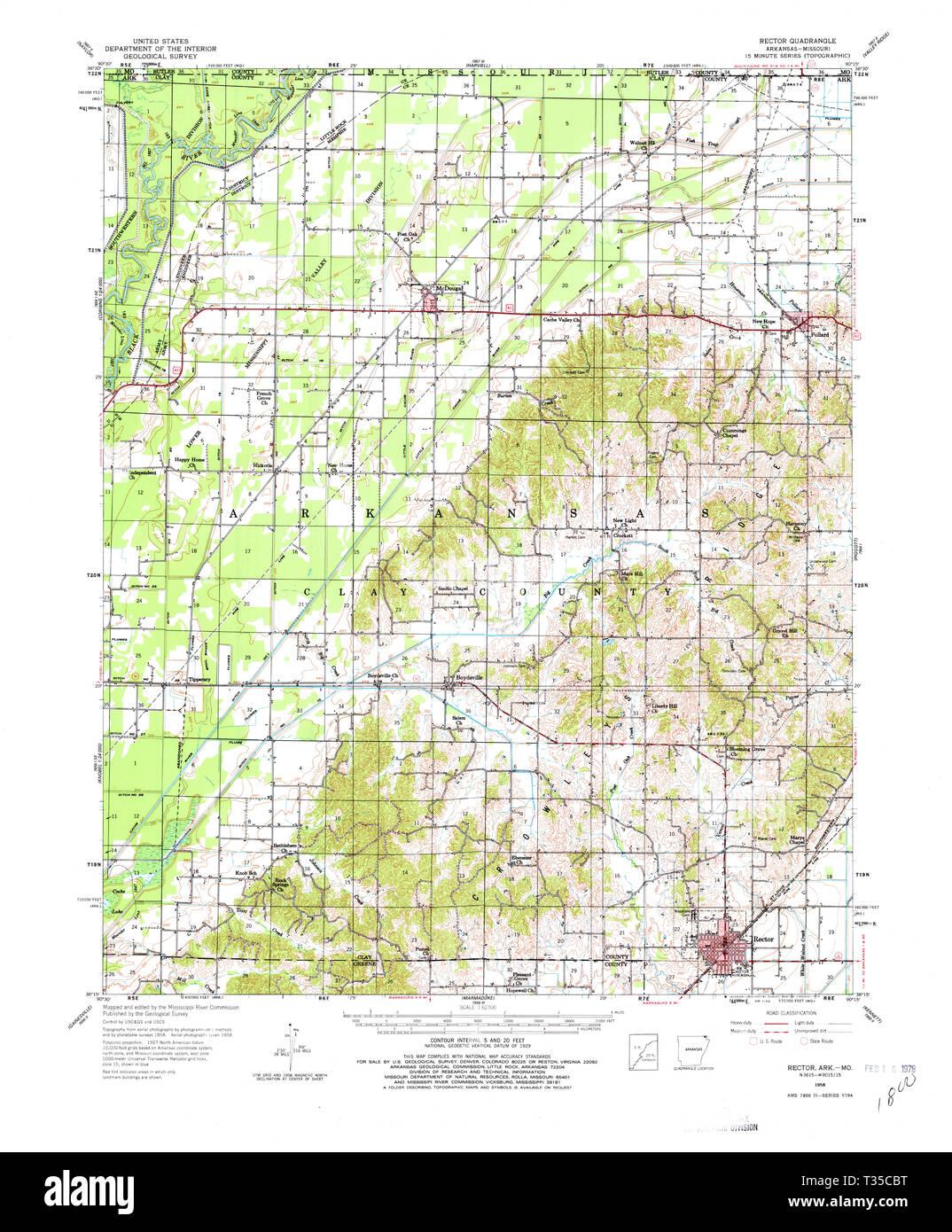 USGS TOPO Map Arkansas AR Rector 260270 1958 62500 ...