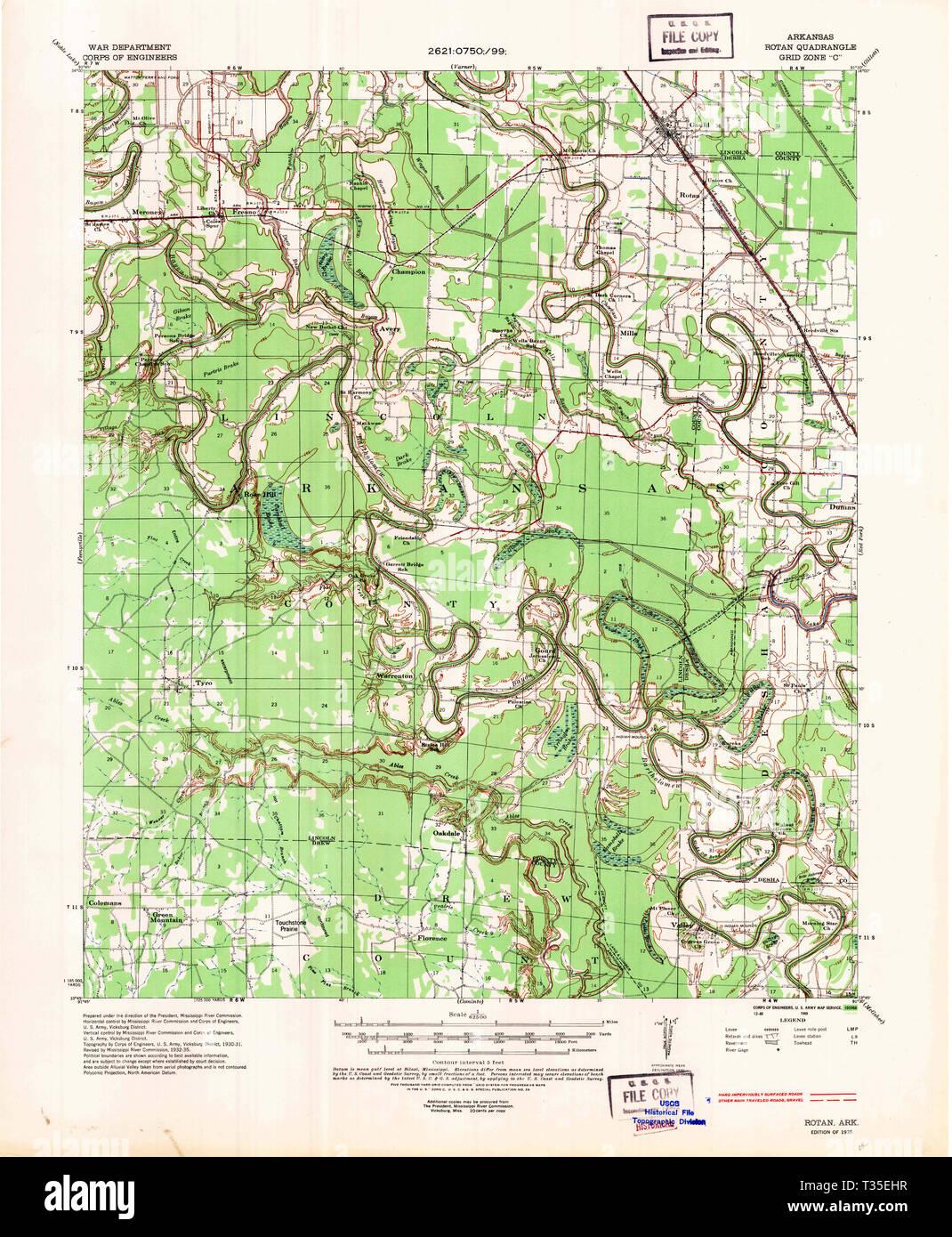 USGS TOPO Map Arkansas AR Rotan 260279 1935 62500 ...