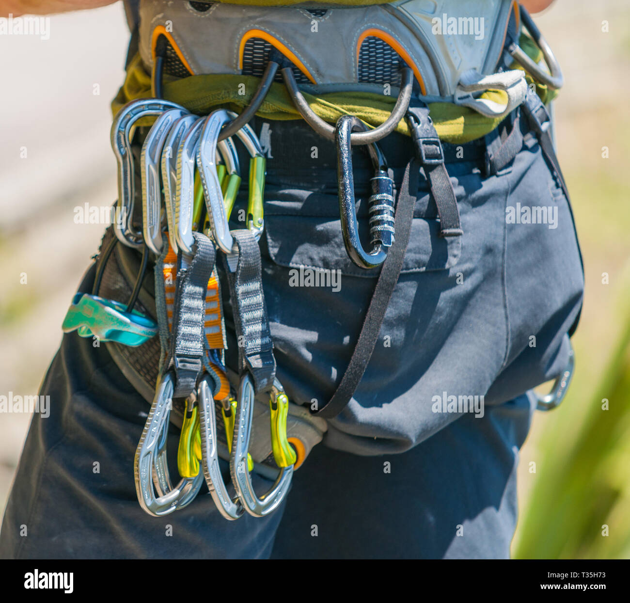 Mountaineering safety equipment hanging on harness close-up, ready to start. - Stock Image