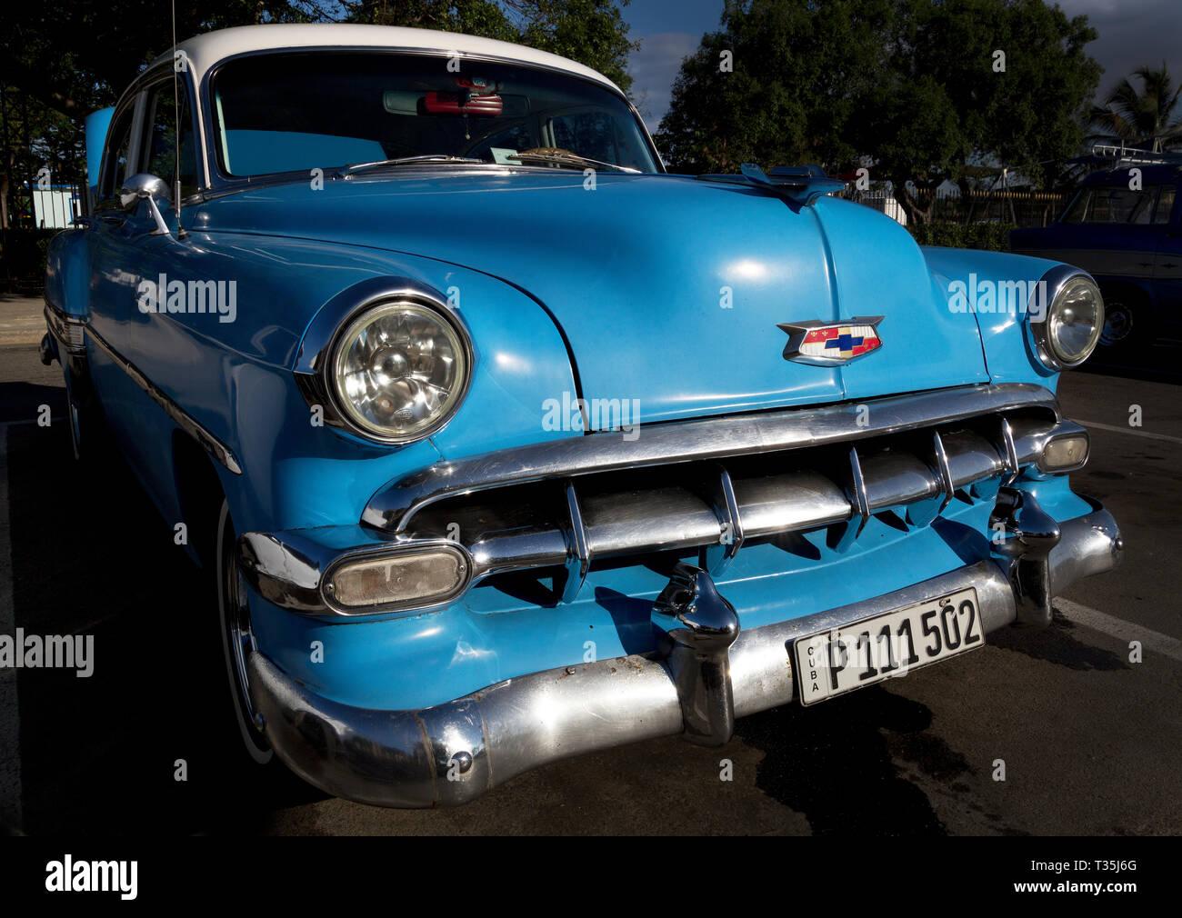 1952 Chevy Bel Air hard top parked in Havana, Cuba - Stock Image