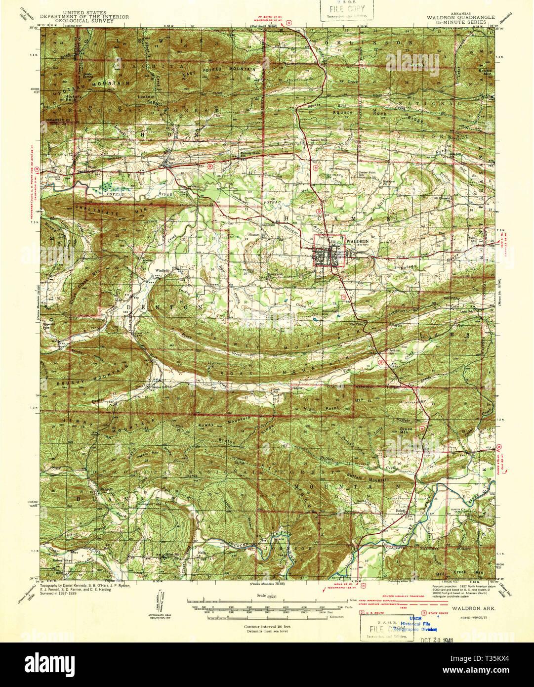 USGS TOPO Map Arkansas AR Waldron 260348 1941 62500 ...
