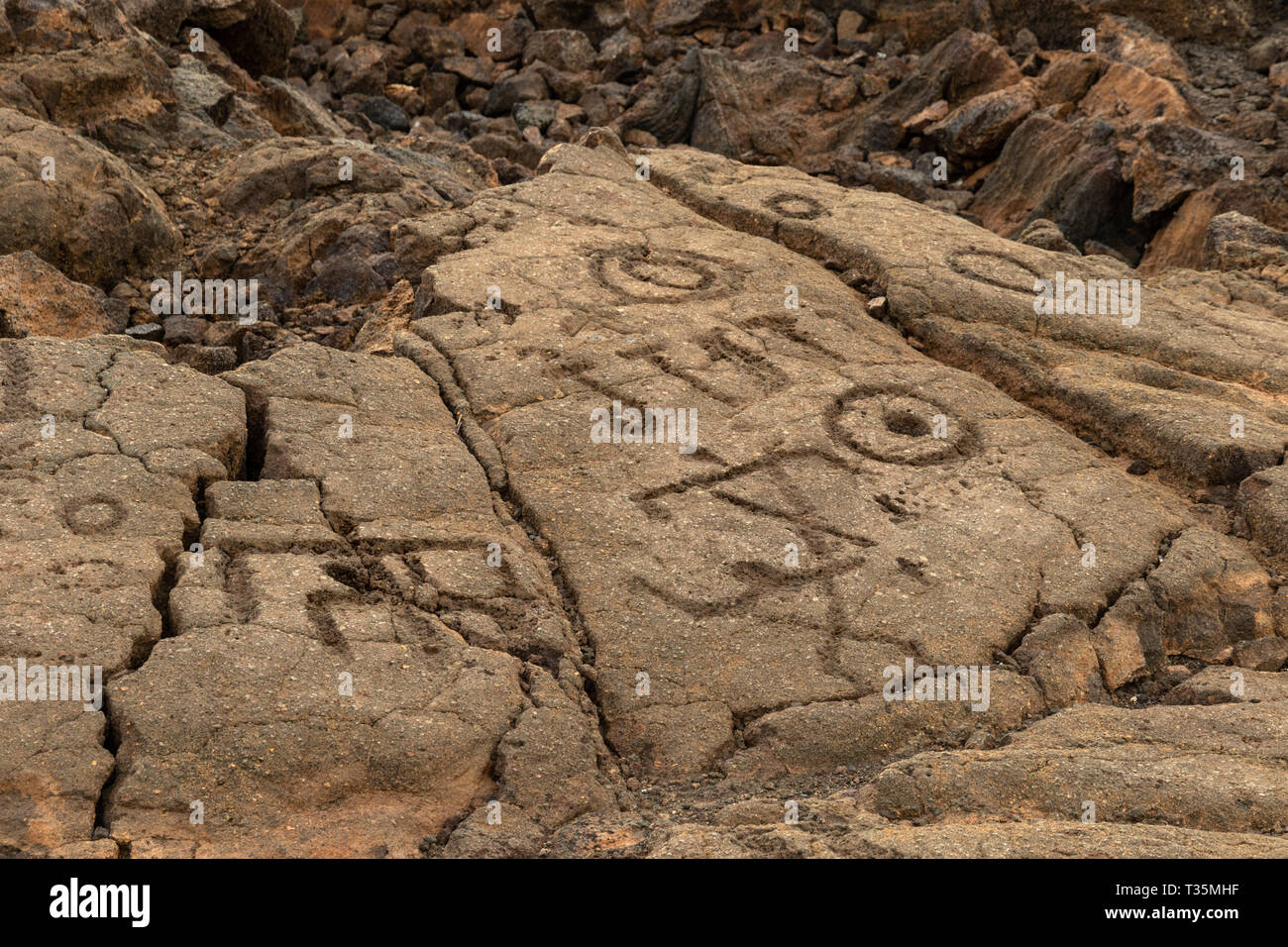 Petroglyphs in Waikoloa Field, on the King's Trail ('Mamalahoa'), near Kona on the Big Island of Hawaii. - Stock Image