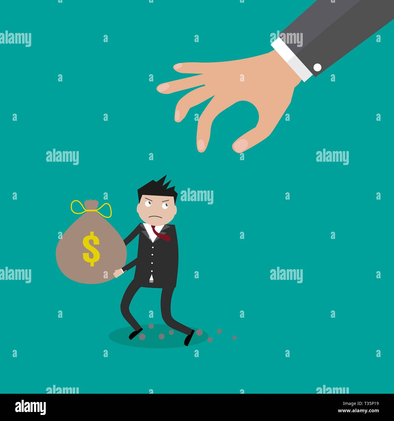 Cartoon hand tries to grab the bag of money running businessman. vector illustration in flat design on green background - Stock Vector