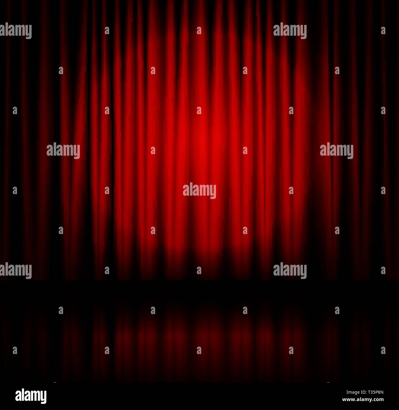 Red spotlight on stage theatre curtain with reflection on floor. Vector illustration - Stock Vector