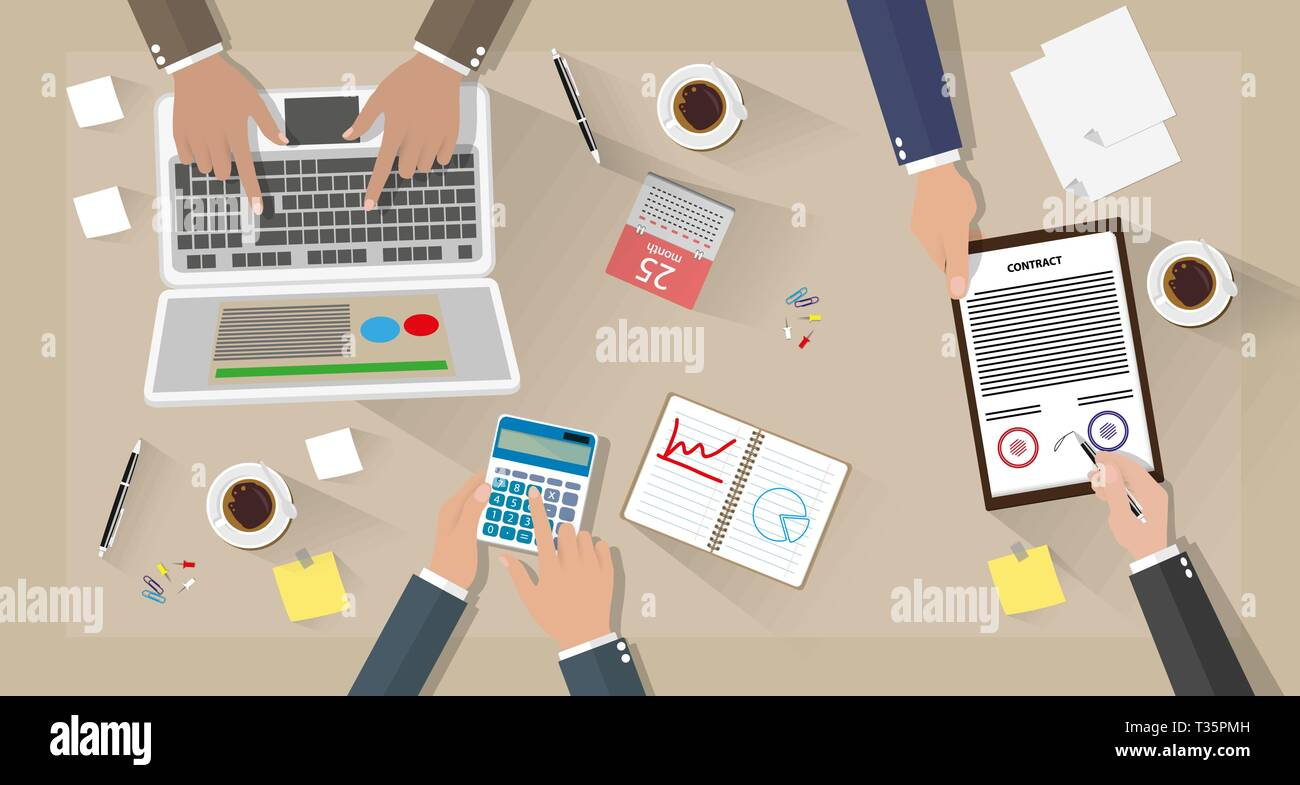 Business meeting and team work. Businessman with laptop, calculator, contract papers, coffee cups, pen, calendar and notes on desk with shadows. vecto - Stock Image
