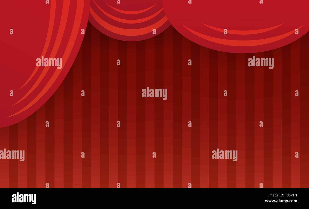 Abstract theater stage with red curtain. Vector illustration Stock Vector