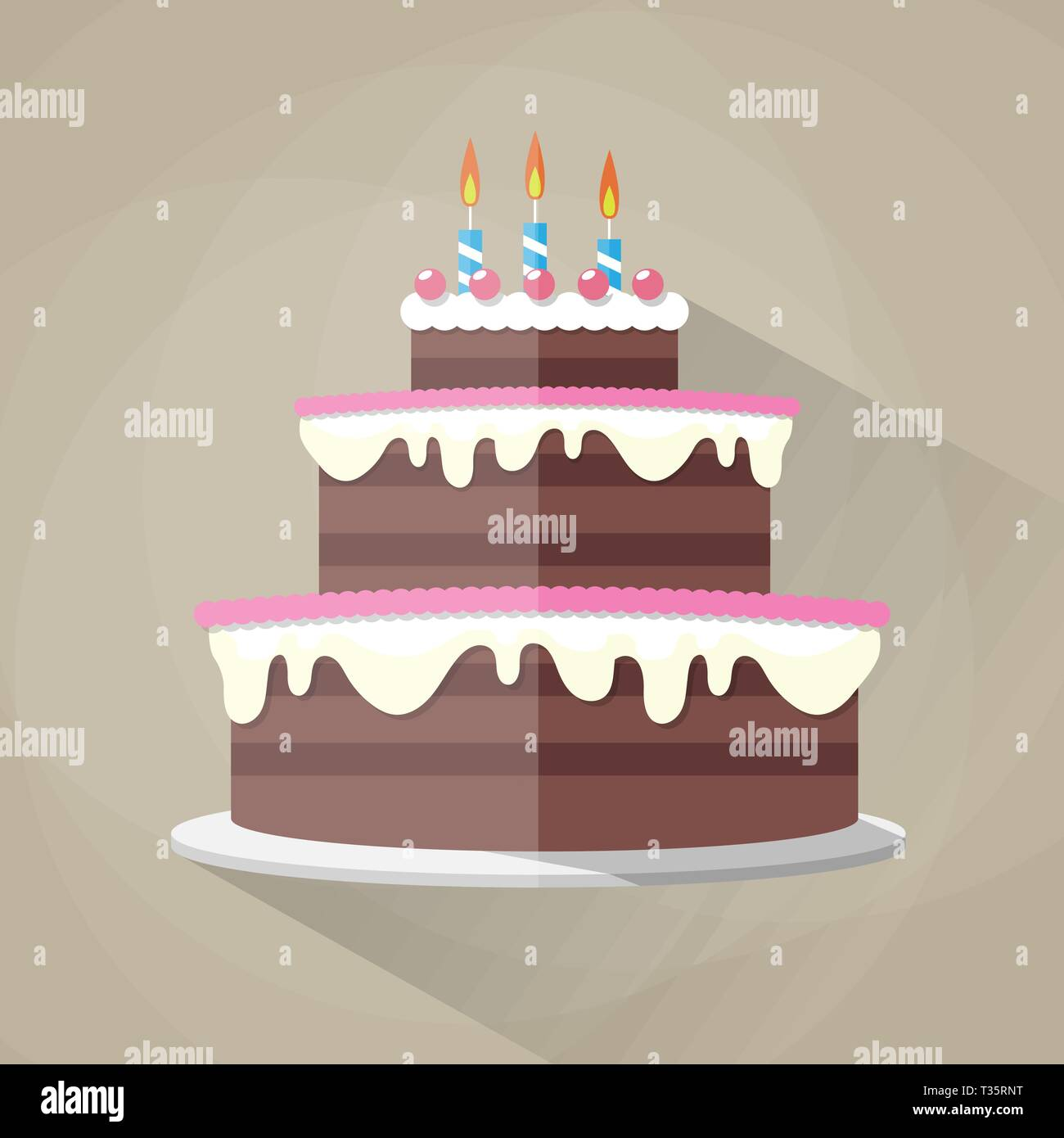 Awesome Chocolate Birthday Cake Icon With Long Shadow Candles With Fire Funny Birthday Cards Online Overcheapnameinfo