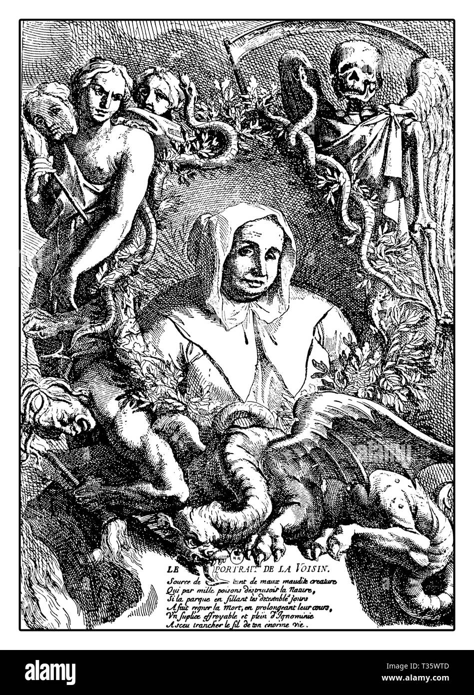 Allegorical portrait with winged devil of Catherine Monvoisin well renowned French poisoner of the XVII century,fortune teller, midwife, abortions provider and professional sorcery executed for witchcraft by burning at stake in 1680 - Stock Image