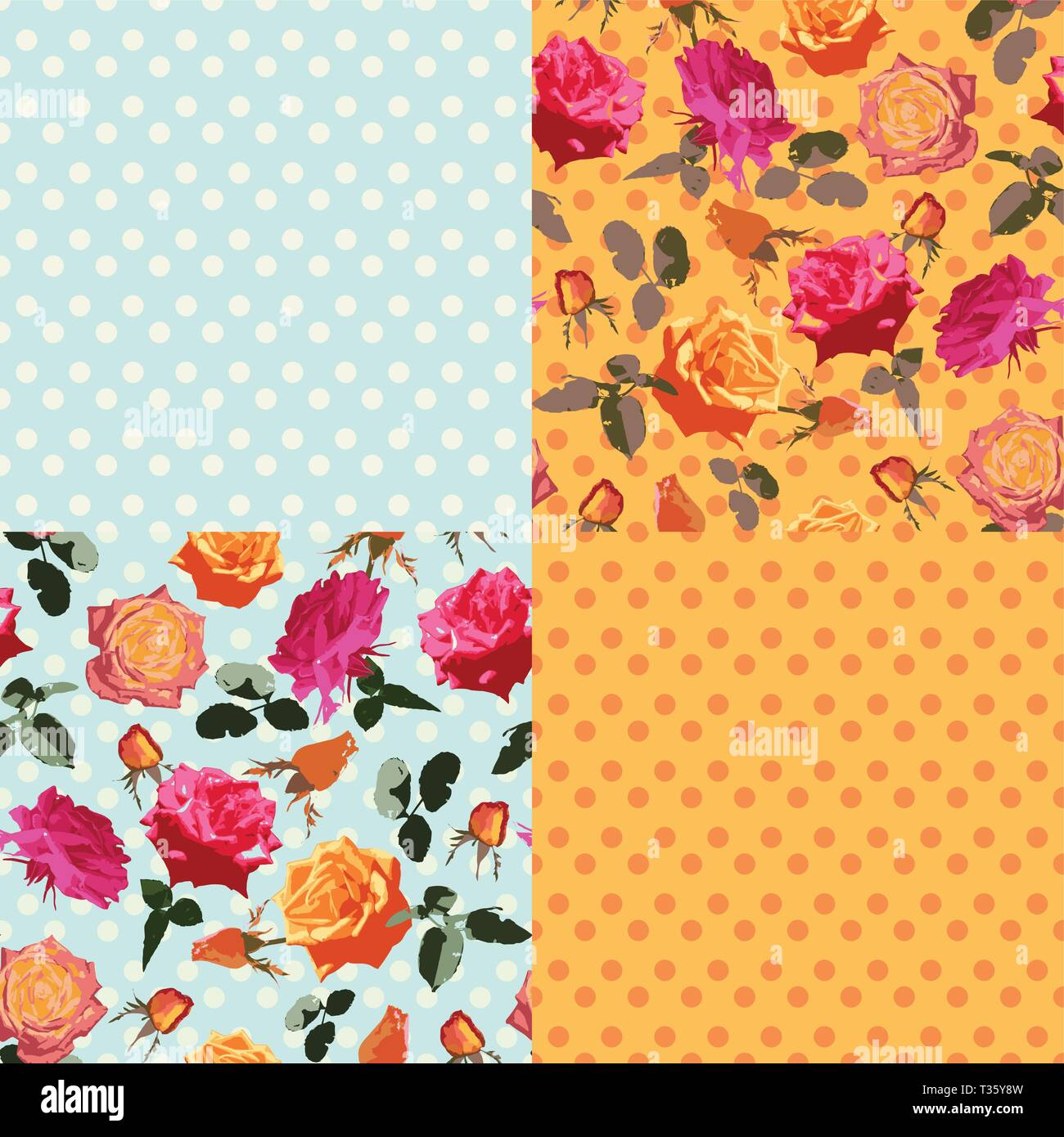 Victorian Roses on the Pastel Blue. Dusty Colors - Stock Image