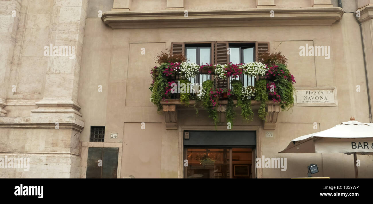 shot of a window box and a place sign at piazza navona in rome - Stock Image