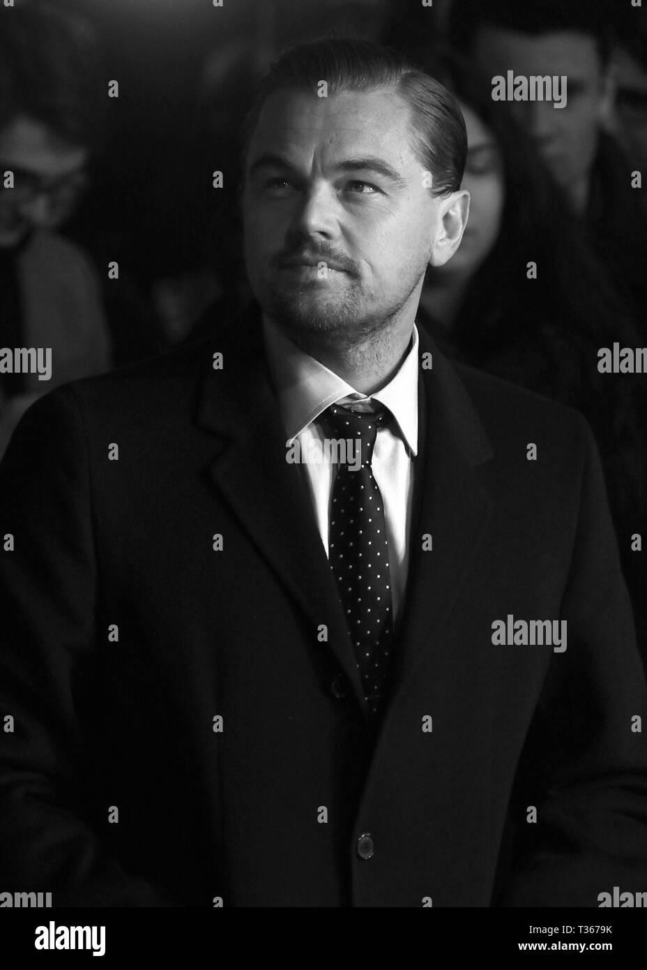 Jan 14, 2016 - London, England, UK - 'The Revenant' UK Premiere, Empire Leicester Square - Red Carpet Arrivals Photo Shows: Leonardo DiCaprio - Stock Image