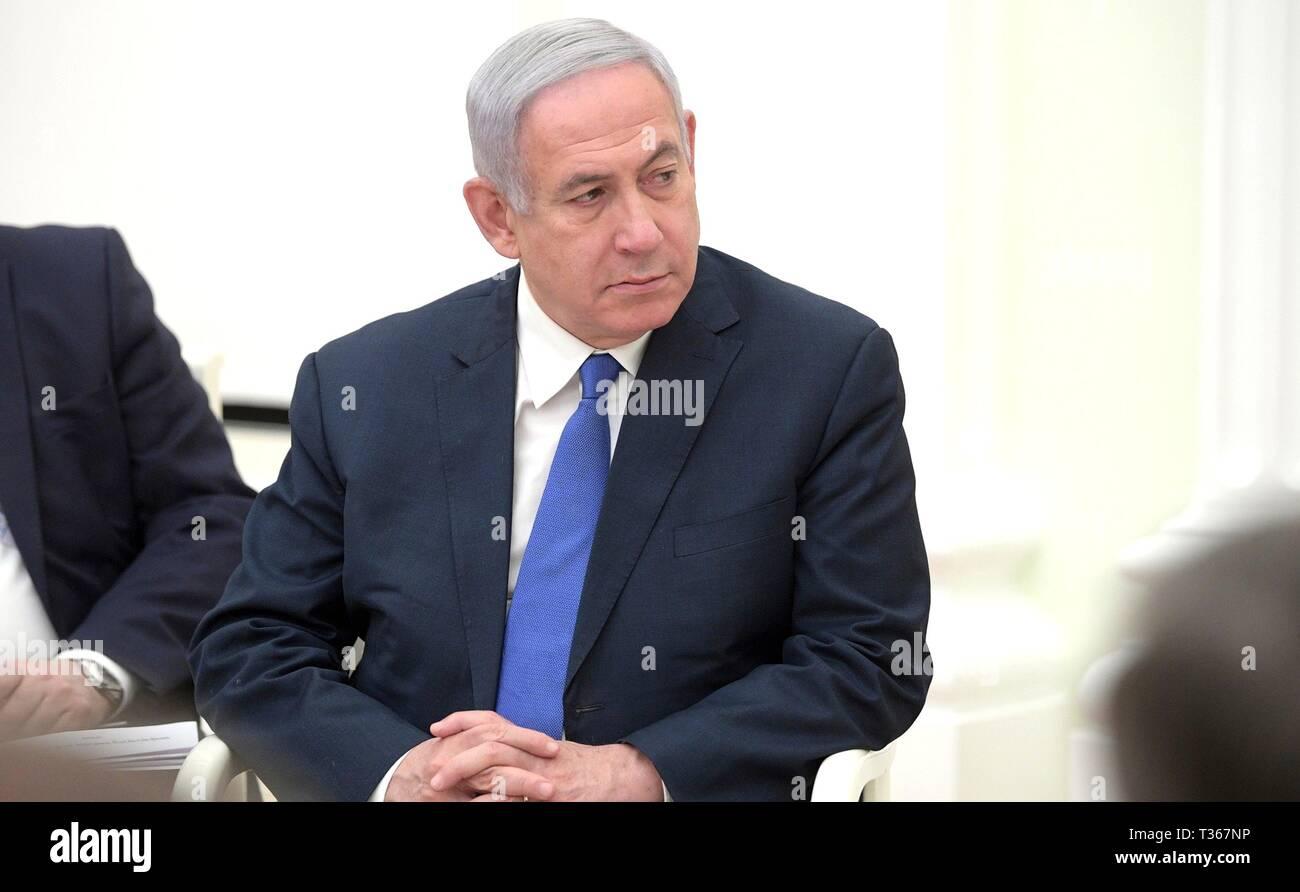Israeli President Benjamin Netanyahu during a bilateral meeting with Russian President Vladimir Putin at the Kremlin April 4, 2019 in Moscow, Russia. - Stock Image