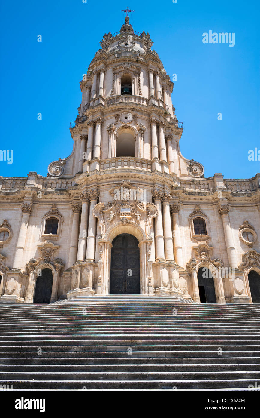 Front elevation and tower of of Baroque style Cathedral of San Giorgio in Modica Alta ancient city, South East Sicily Stock Photo