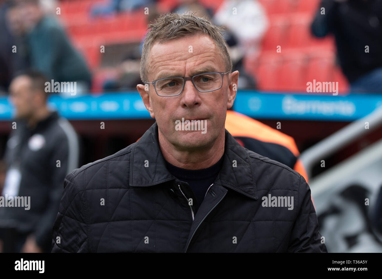 Leverkusen, Germany, April 6 2019, Bundesliga, Bayer 04 Leverkusen vs RB Leipzig: Manager Ralf Rangnick (Leipzig) looks on.                   Credit:  - Stock Image