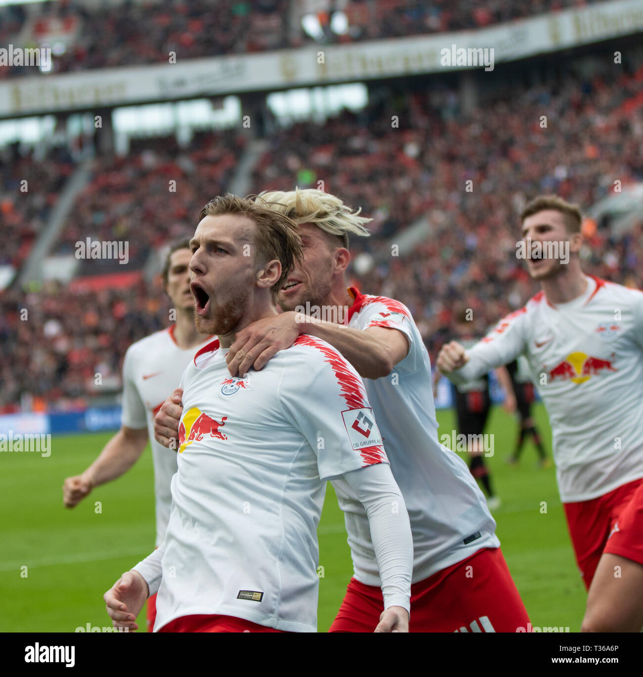 Leverkusen, Germany, April 6 2019, Bundesliga, Bayer 04 Leverkusen vs RB Leipzig: goal celebration 2-3 Emil Forsberg (Leipzig)                   Credi - Stock Image