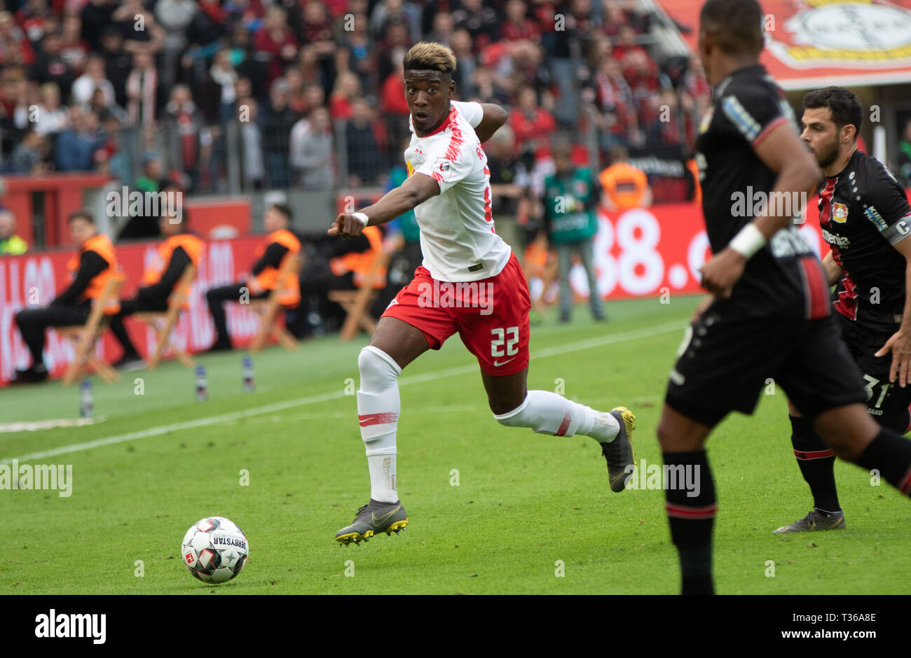 Leverkusen, Germany, April 6 2019, Bundesliga, Bayer 04 Leverkusen vs RB Leipzig: Nordi Mukiele (Leipzig) in action.                  Credit: Juergen  - Stock Image