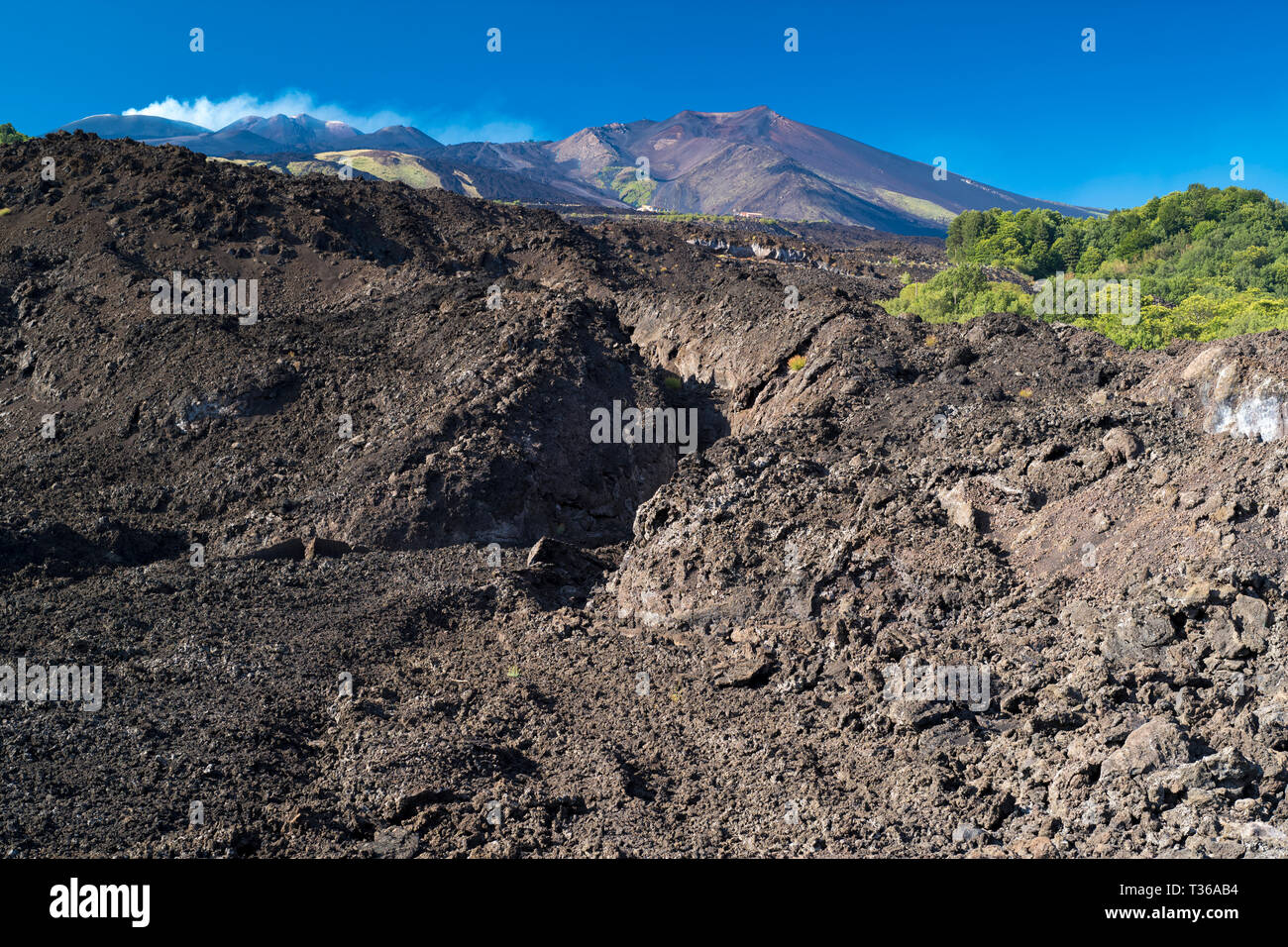 Lava field caused by volcanic eruption of Mount Etna an active stratovolcano on the east coast at Taormina, Sicily, Italy Stock Photo