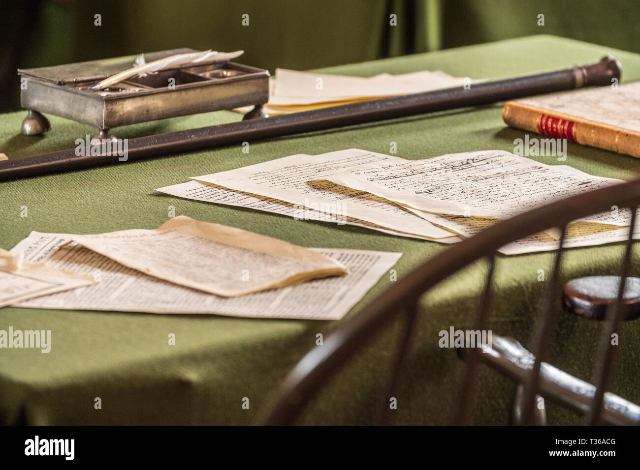 Desk where the U.S. Constitution were signed - Philadelphia Pennsylvania USA - Stock Image