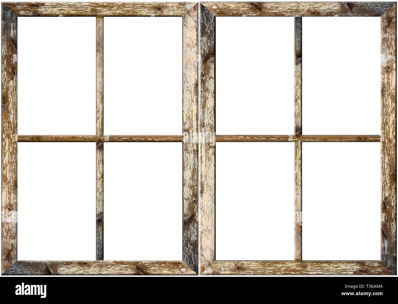 Very Aged Wooden Window Frame With Cracked Paint On It