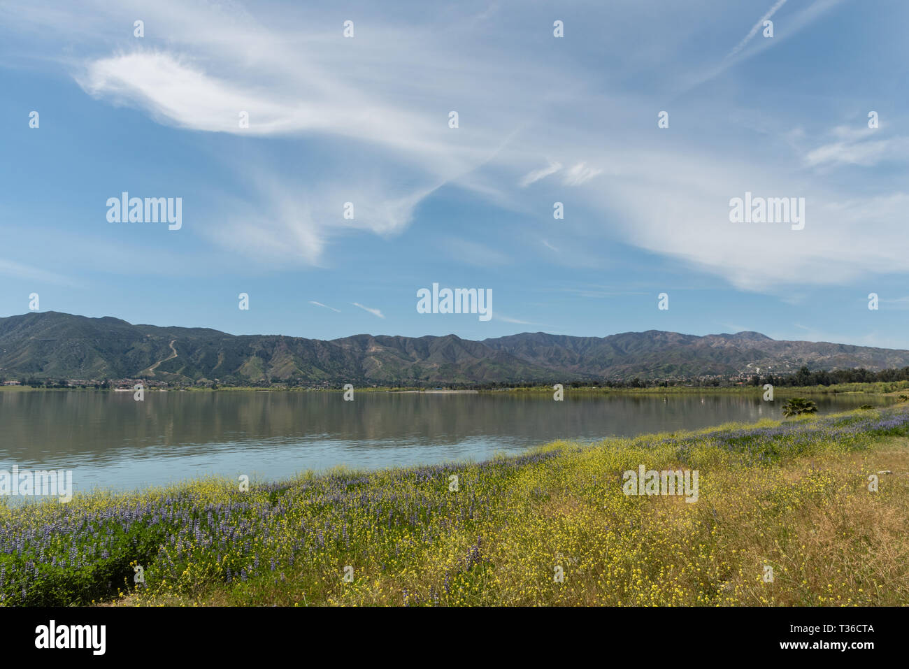 Beautiful Lake Elsinore vista in springtime, Southern California - Stock Image