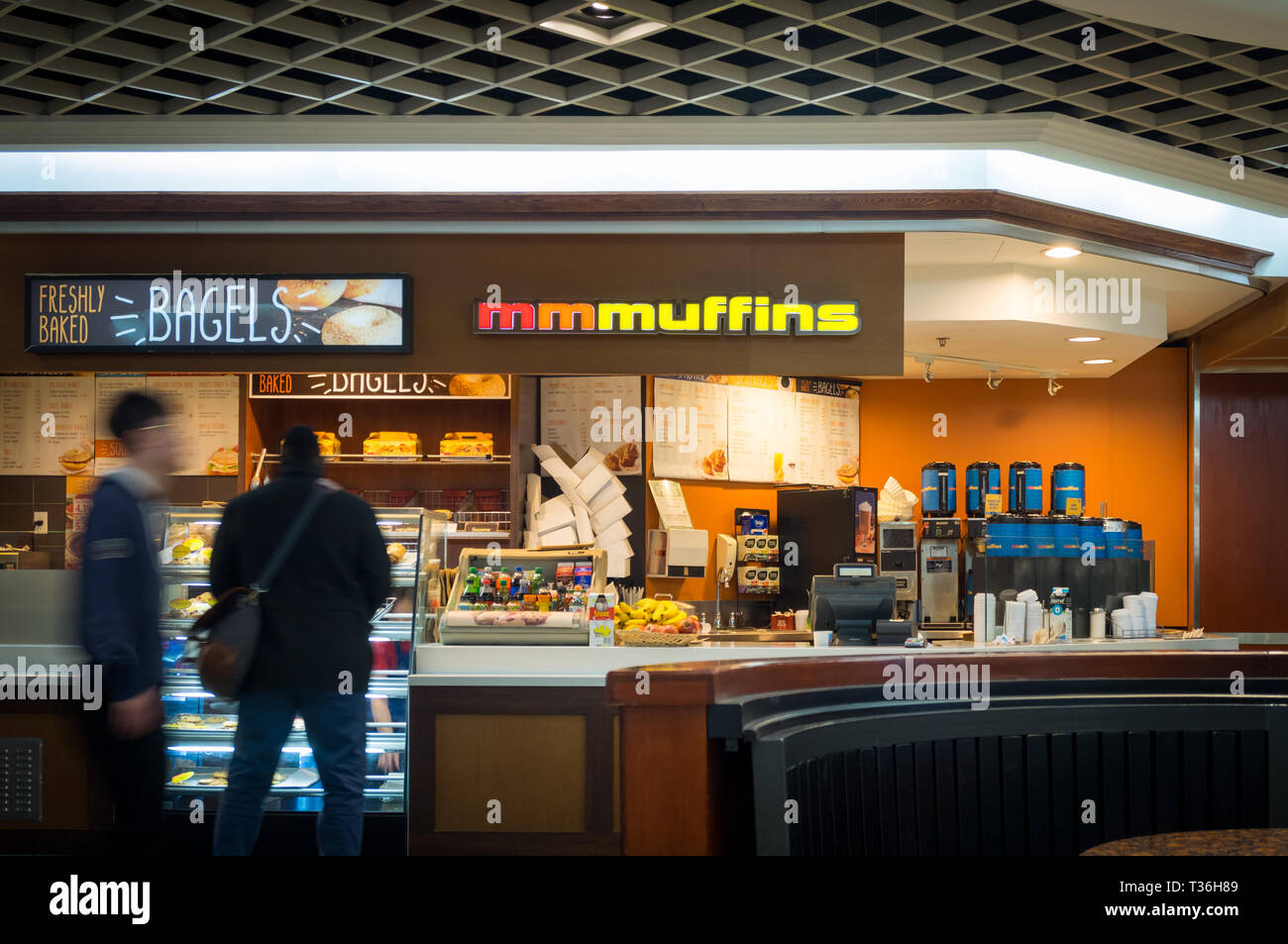 A Mmmuffins (also known as Marvellous Mmmuffins or Marvellous Muffins) retail location in the food court of Scotia Plaza in Toronto, Ontario, Canada. - Stock Image