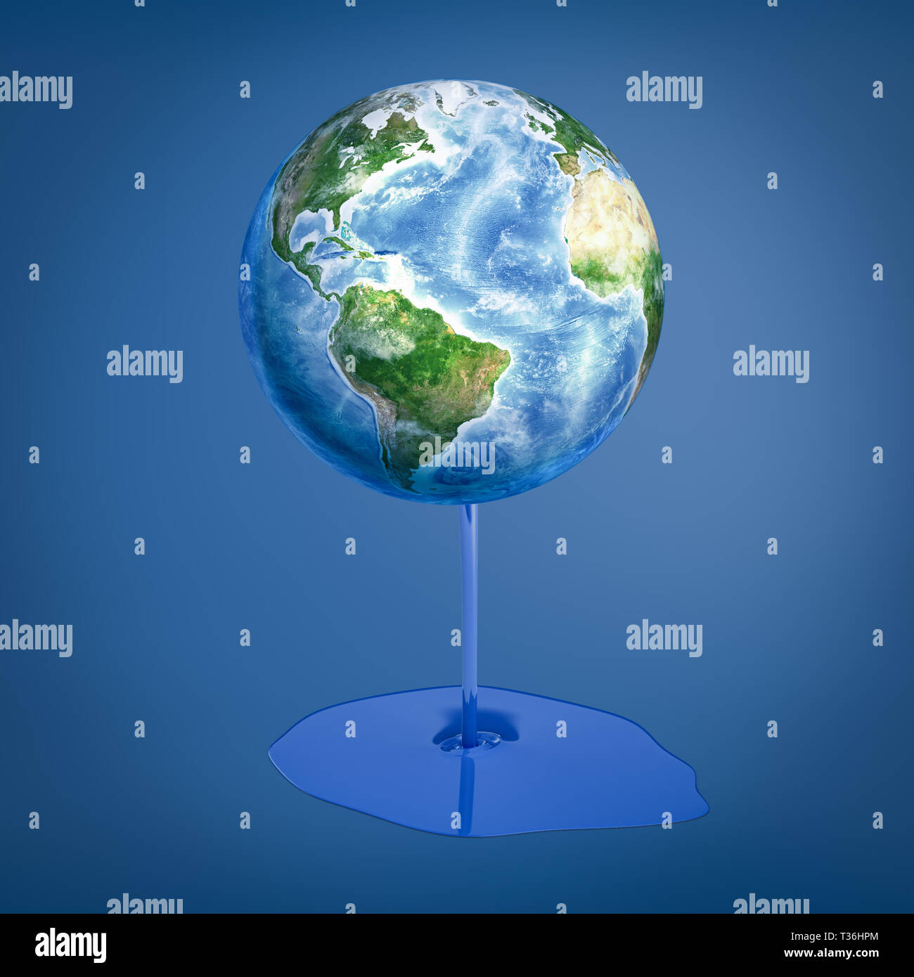 3d rendering of earth globe with blue thick liquid melting off on blue background - Stock Image