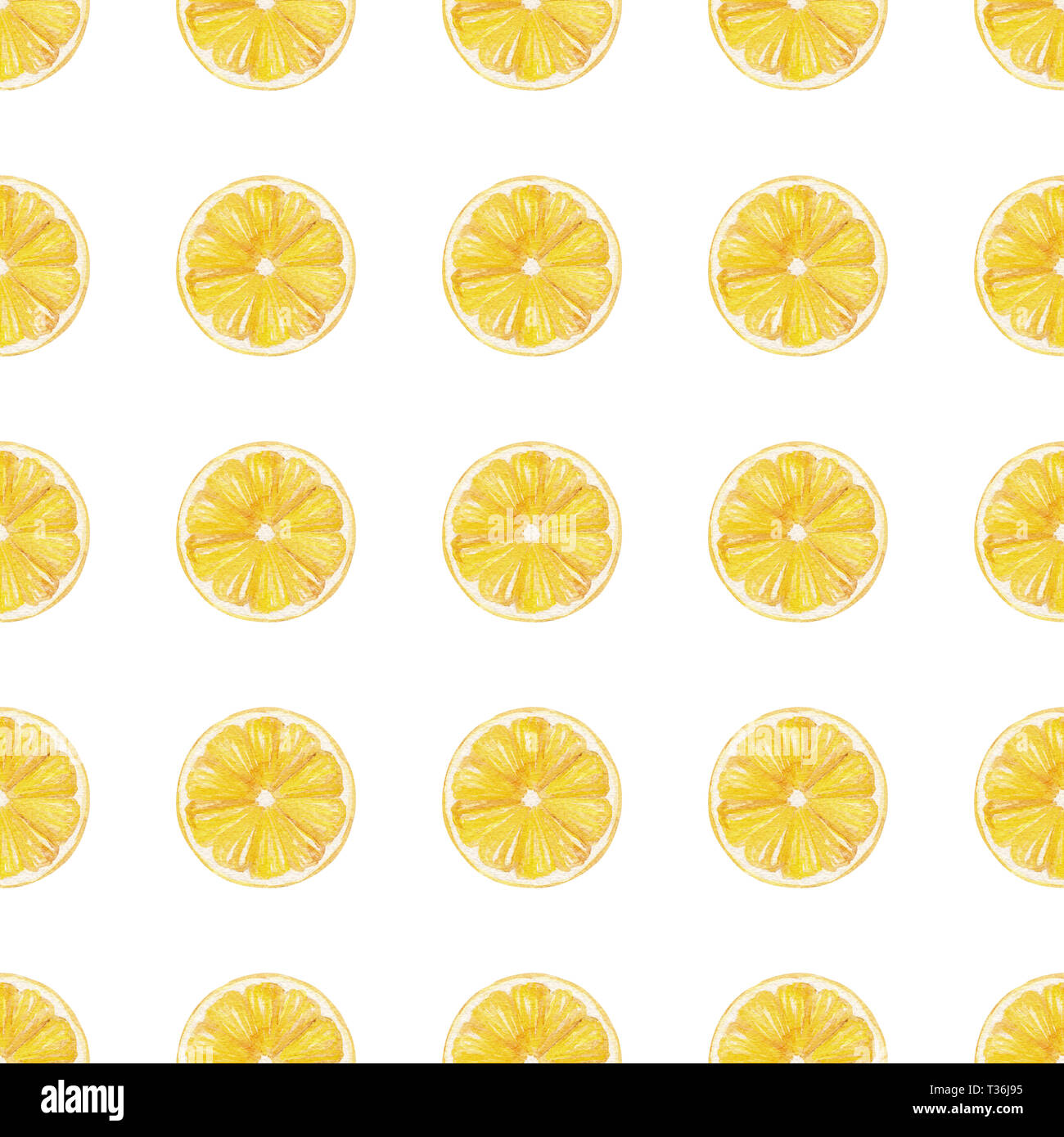 watercolor handmade seamless pattern with yellow lemon fruit slices perfect for printing on fabric and bag decoration wallpaper T36J95