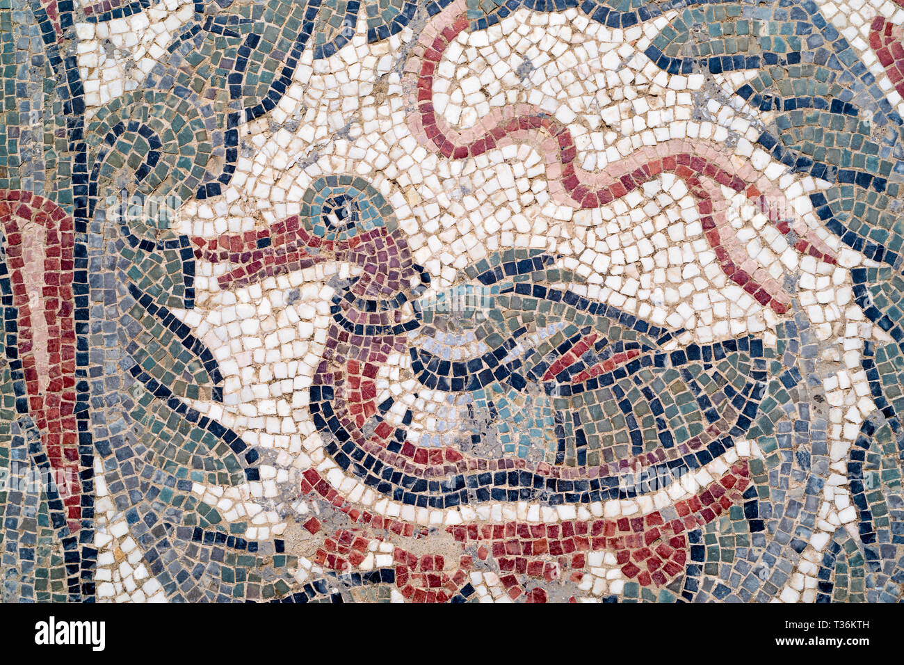 Famous mosaics and mosiac art of animals by Ovoid Portico at Roman Villa del Casale, Piazza Armerina, Sicily, Italy Stock Photo
