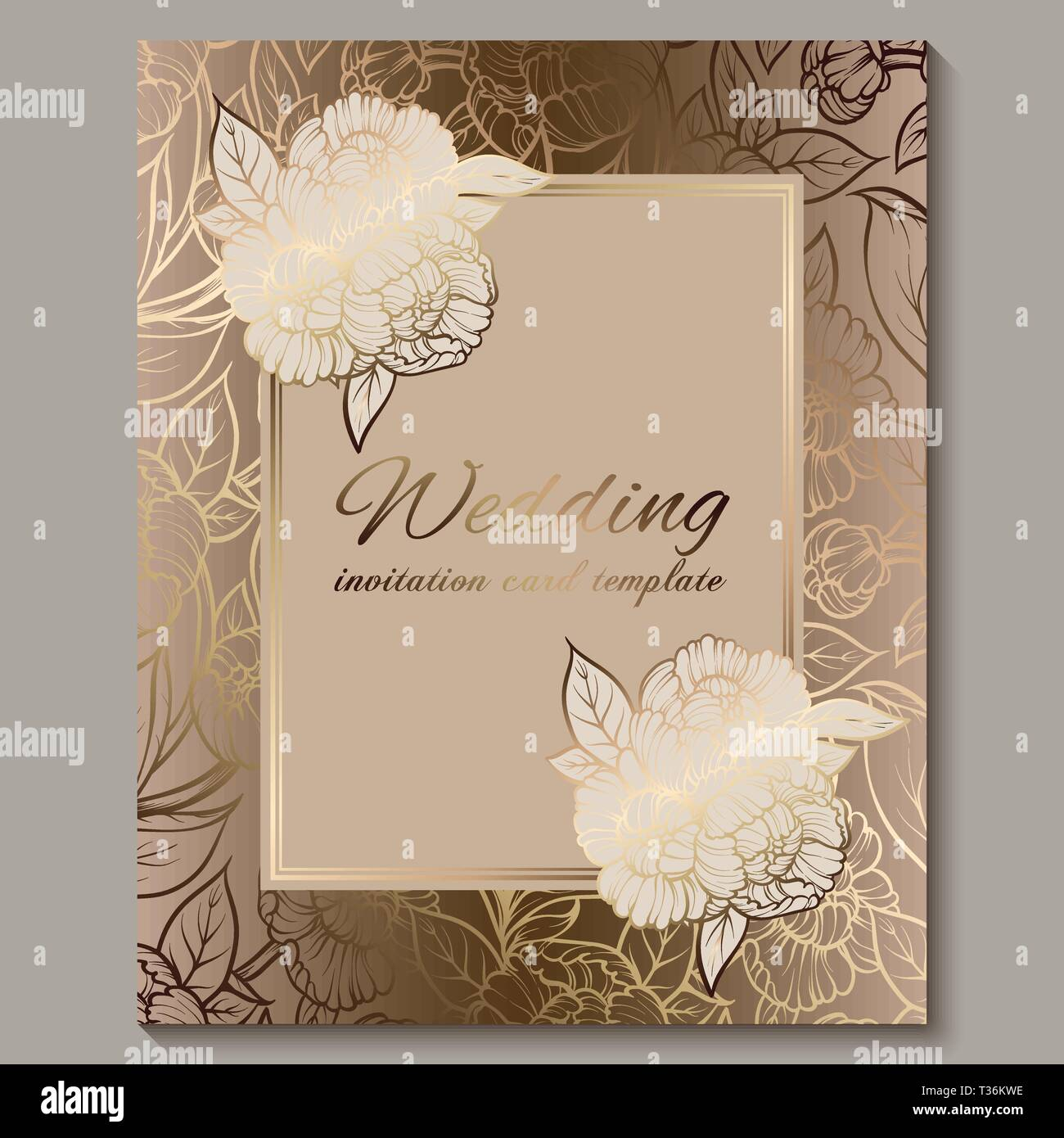 Exquisite Royal Luxury Wedding Invitation Gold Floral