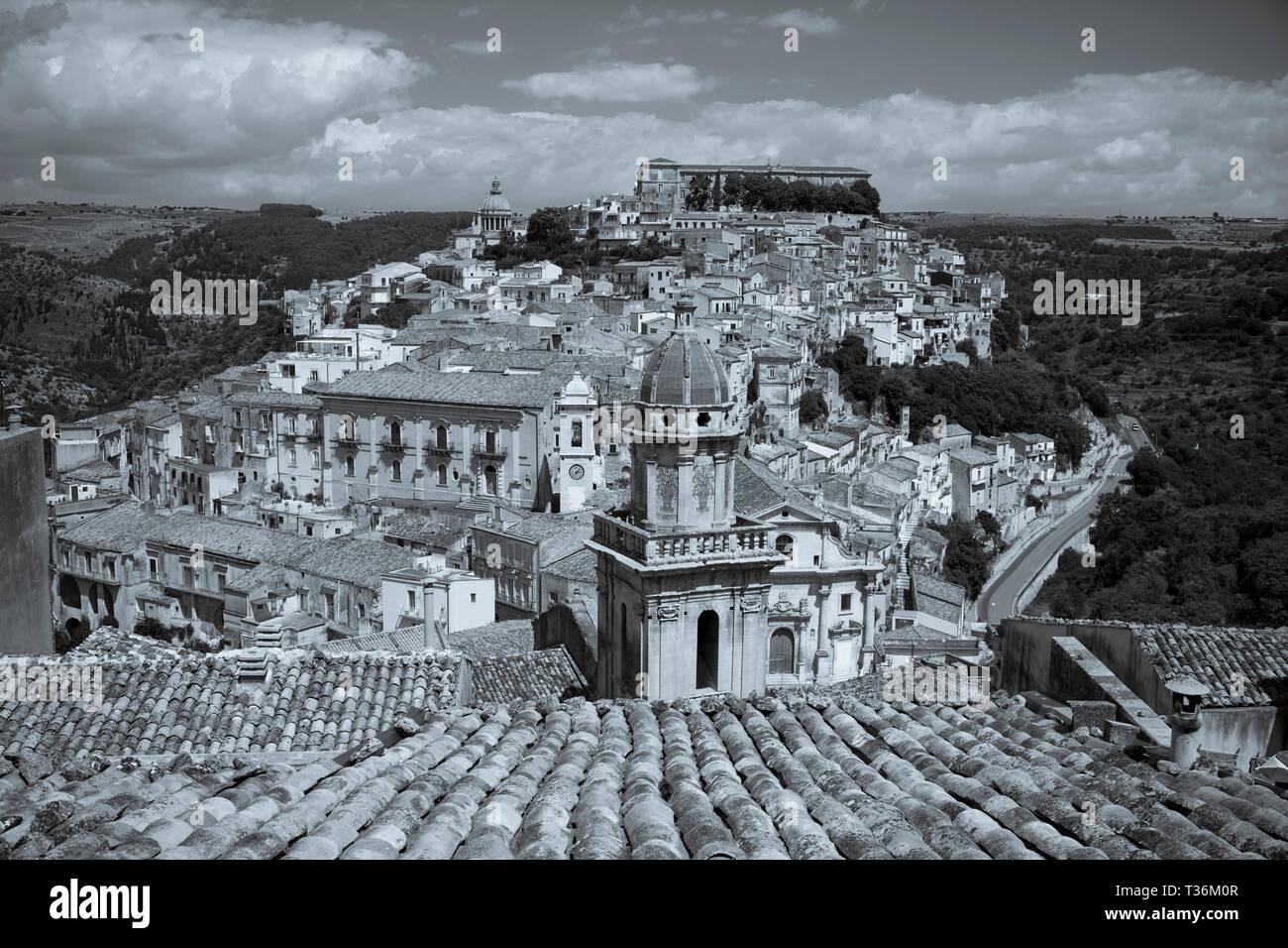 Aerial view of Ragusa Ibla famous hill town with Santa Maria delli'Idria a Baroque style church in foreground, Sicily Stock Photo