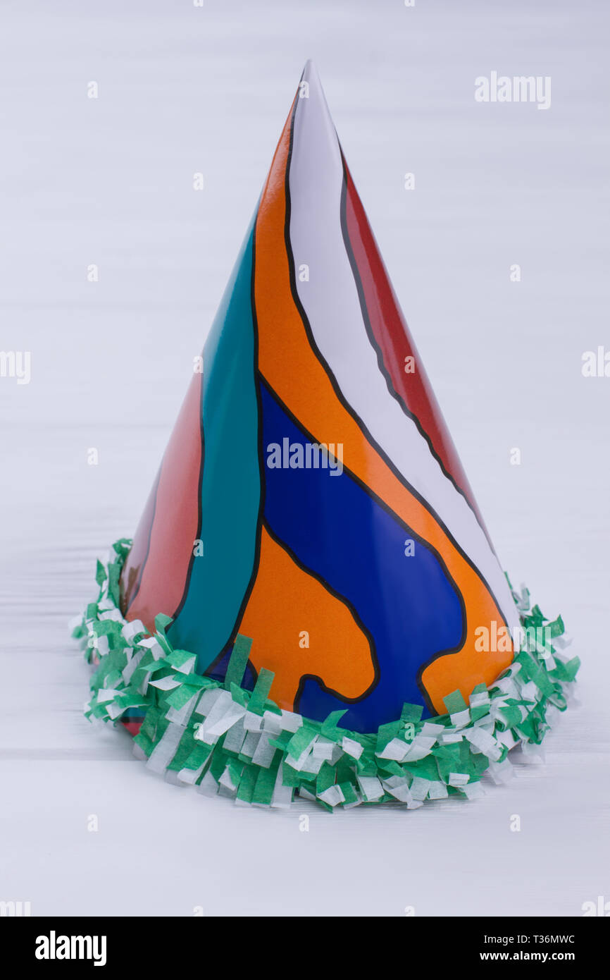 Paper Party Hat With Abstract Pattern Cone Green Fringe Birthday Craft