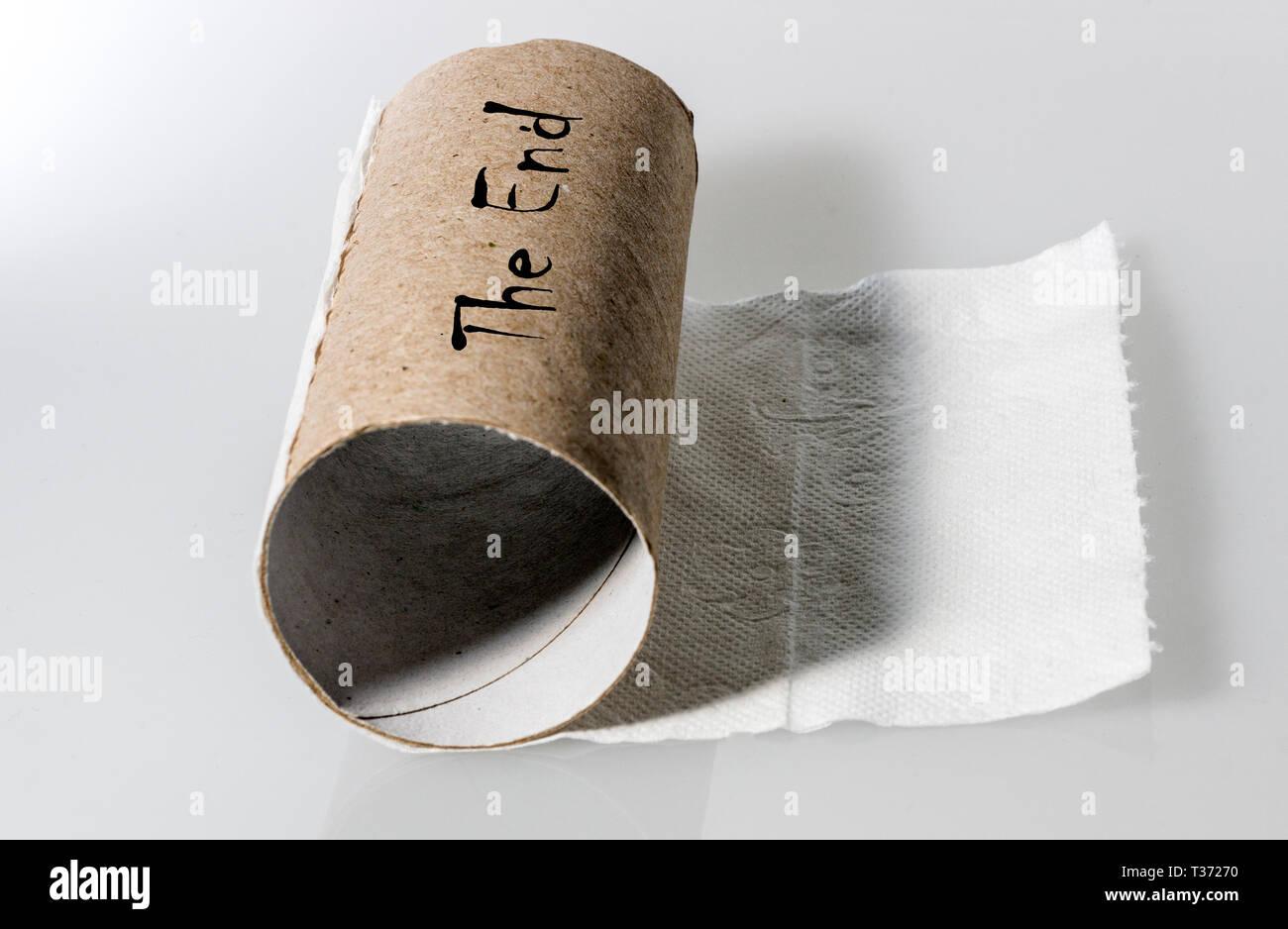 Empty loo roll - Stock Image