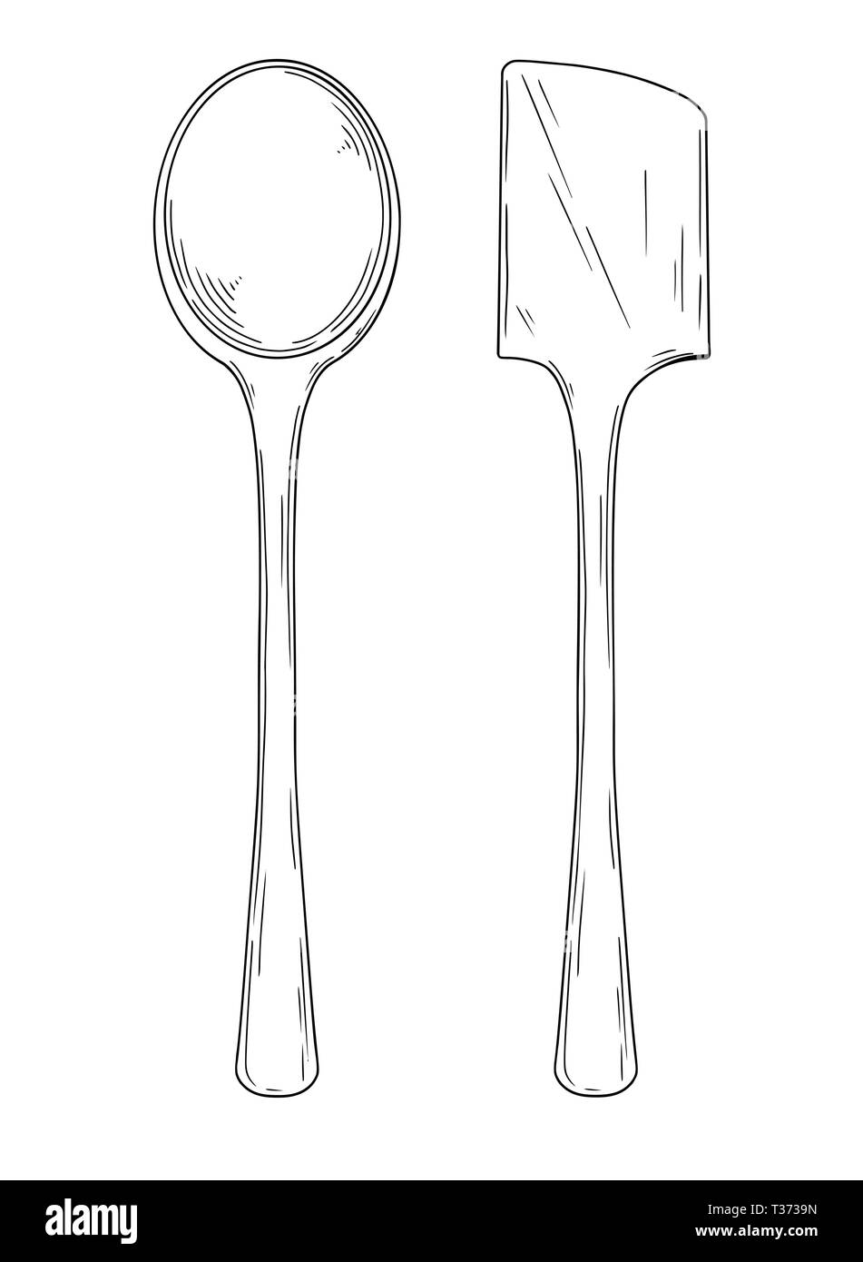 Kitchen utensils. Different spoons isolated vector illustration on white background. Vector - Stock Vector