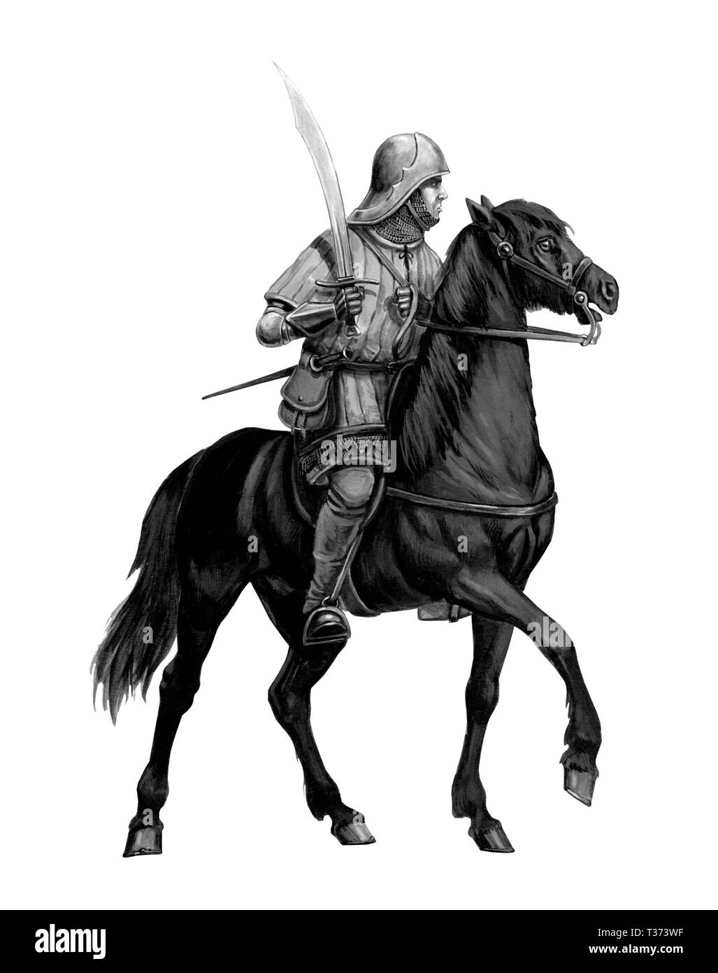 Mounted germanic knight, Teutonic knight illustration. Crusader on horseback. - Stock Image