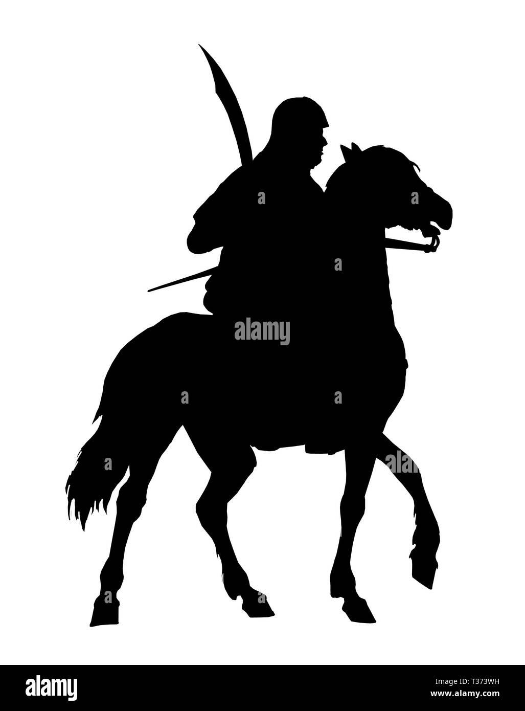 Mounted germanic knight silhouette. Teutonic knight illustration. Crusader on horseback. - Stock Image