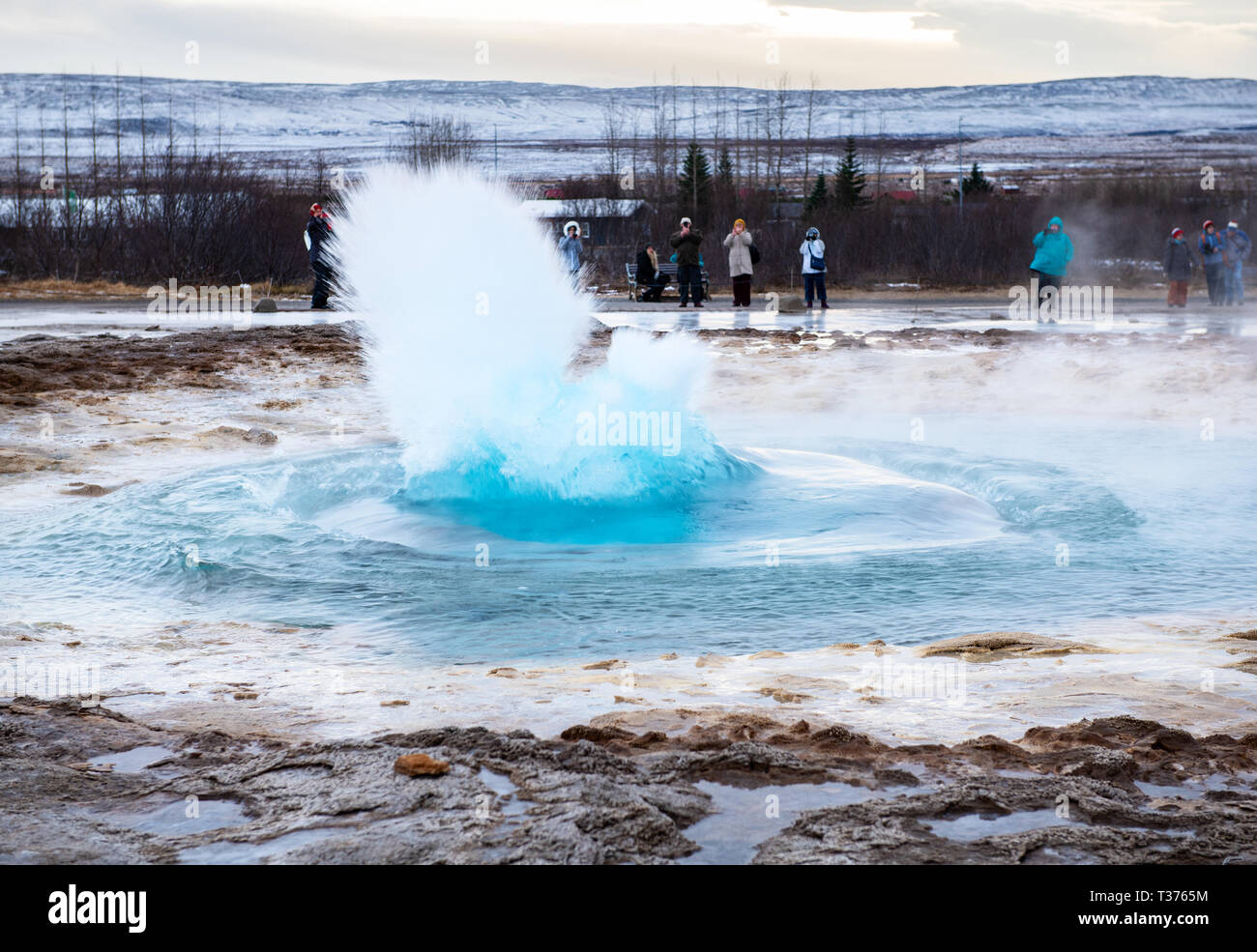 A favorite stop along the Golden Circle is the highly active Geysir Hot Spring Area with boiling mud pits, exploding geysers and the lively Strokkur w - Stock Image