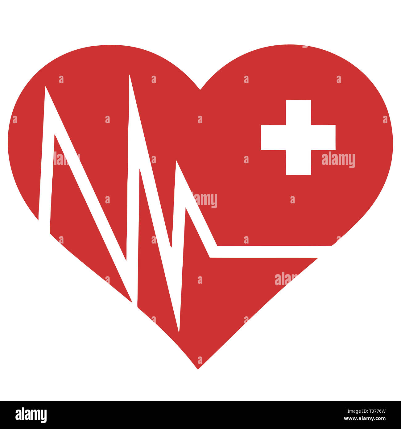 heart shape defibrillator revive save shock medic illustration - Stock Image